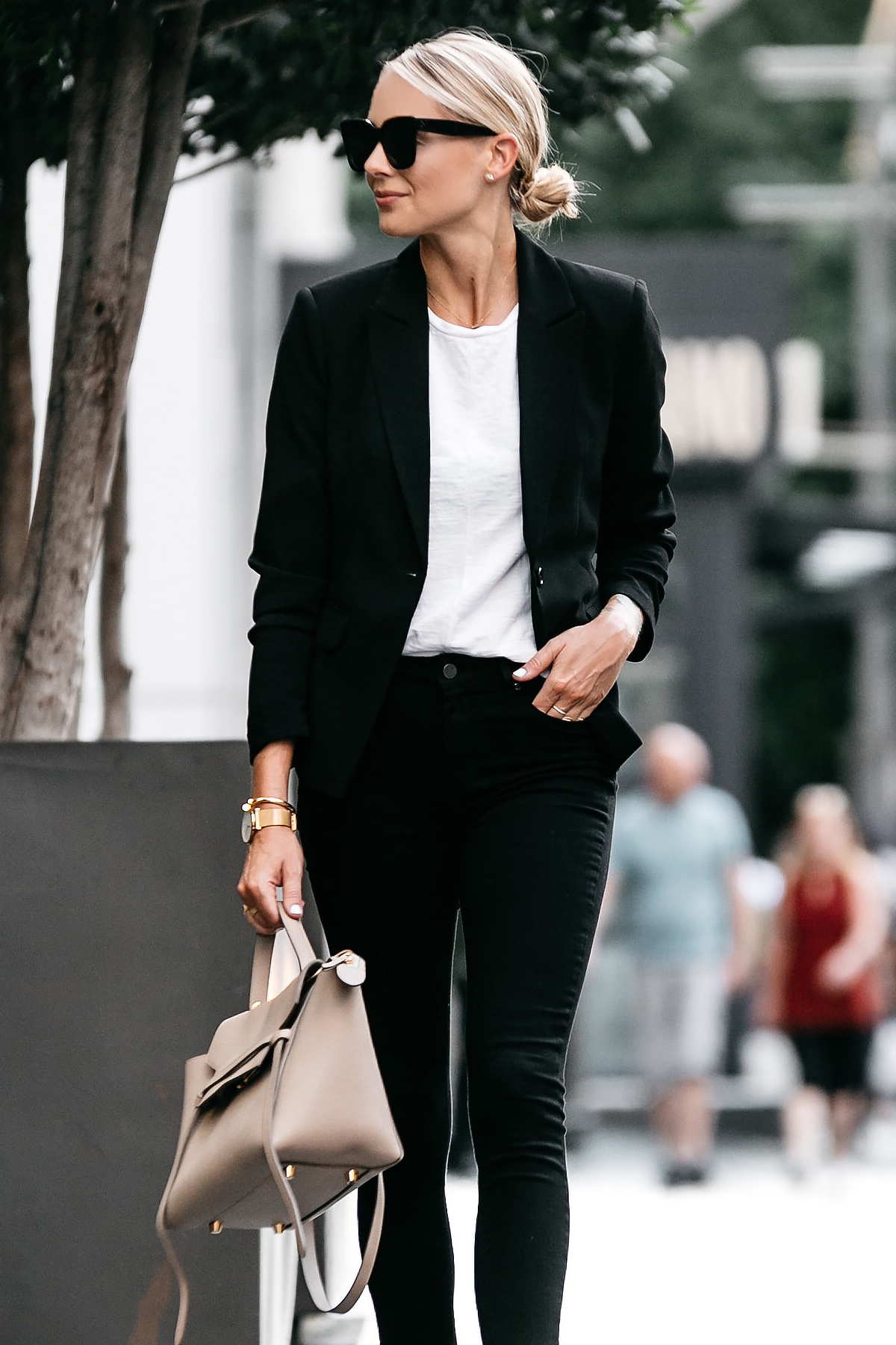 Blonde Wearing Nordstrom Black Blazer White Tshirt Black Raw Hem Jeans Outfit Celine Belt Bag Fashion Jackson Dallas Blogger Fashion Blogger Street Style