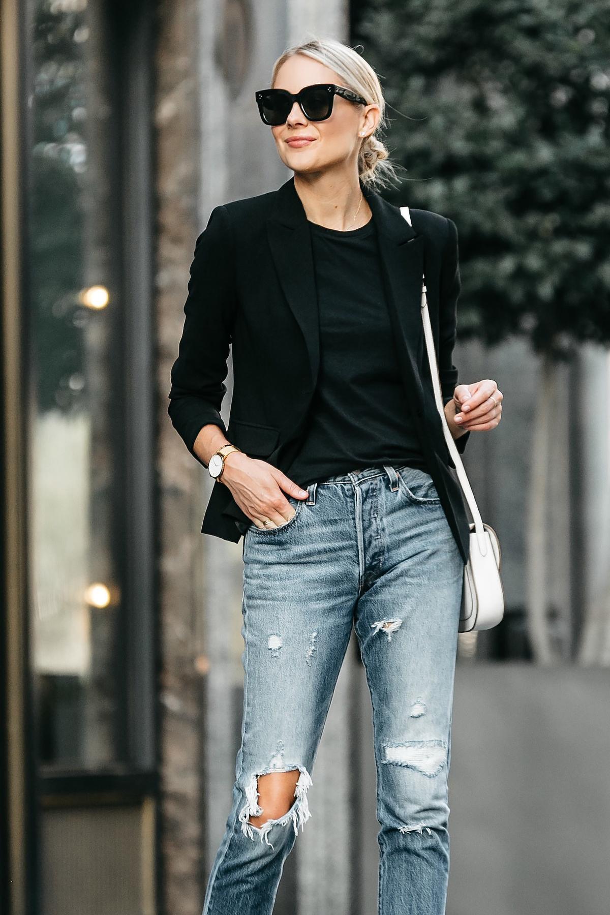 Blonde Woman Wearing Black Blazer Black Tshirt Denim Ripped Jeans Outfit Fashion Jackson Dallas Blogger Fashion Blogger Street Style