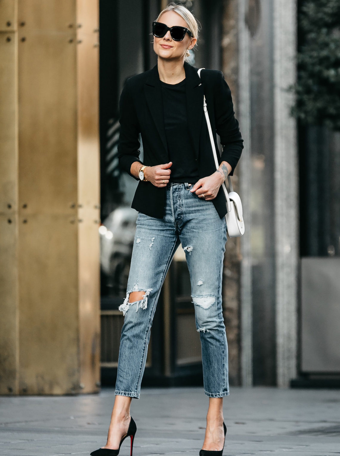 Blonde Woman Wearing Black Blazer Black Tshirt Denim Ripped Jeans Outfit Christian Louboutin Black Pumps Celine Trotteur White Handbag Fashion Jackson Dallas Blogger Fashion Blogger Street Style