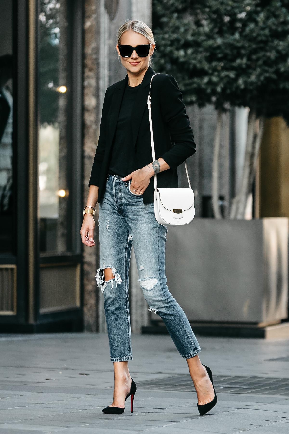 Blonde Woman Wearing Black Blazer Black Tshirt Denim Ripped Jeans Outfit Christian Louboutin Black Pumps Celine Trotteur White Handbag Fashion Jackson Dallas Blogger Fashion Blogger Street Style
