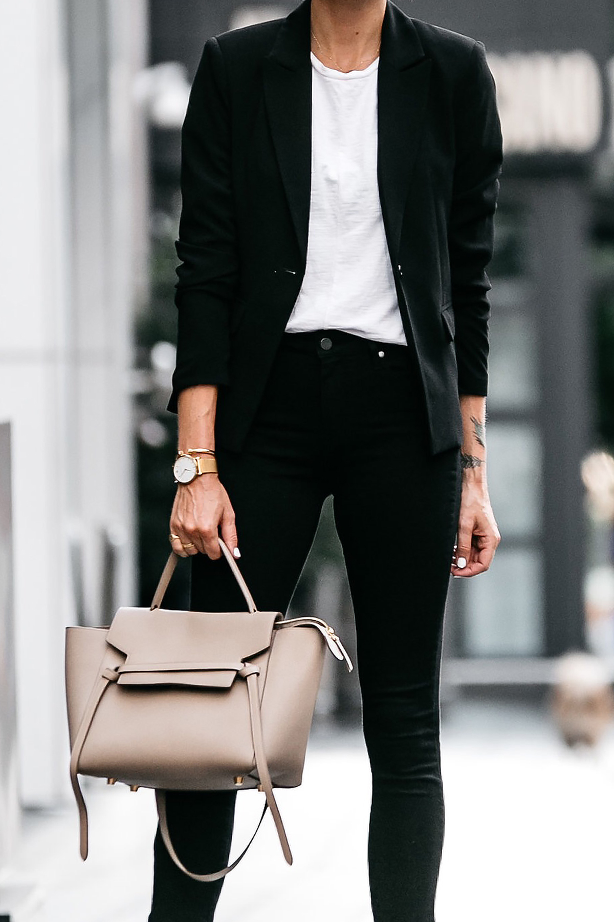 Nordstrom Black Blazer White Tshirt Black Raw Hem Jeans Outfit Celine Belt Bag Fashion Jackson Dallas Blogger Fashion Blogger Street Style