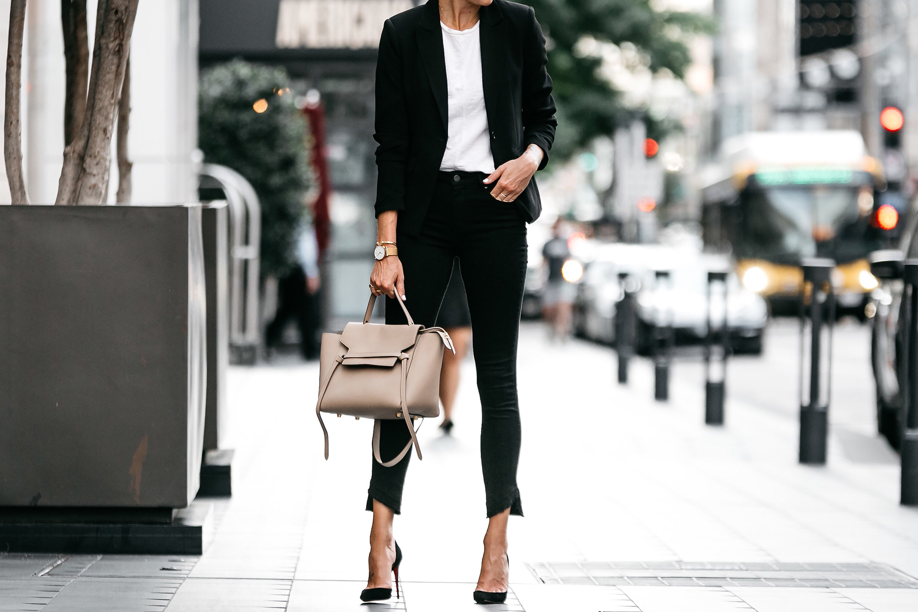 Nordstrom Black Blazer White Tshirt Black Raw Hem Jeans Outfit Christian Louboutin Black Pumps Celine Belt Bag Fashion Jackson Dallas Blogger Fashion Blogger Street Style