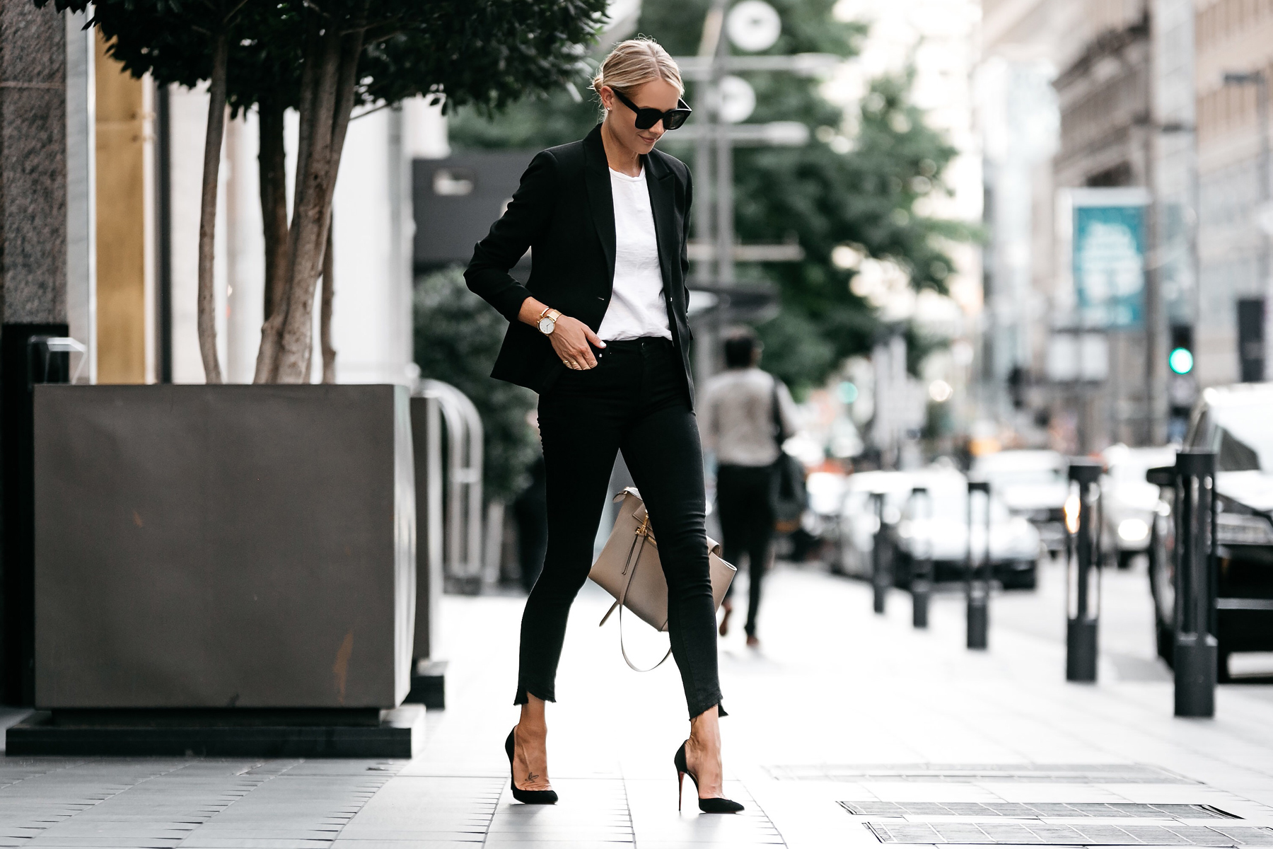 Blonde Wearing Nordstrom Black Blazer White Tshirt Black Raw Hem Jeans Outfit Christian Louboutin Black Pumps Celine Belt Bag Fashion Jackson Dallas Blogger Fashion Blogger Street Style