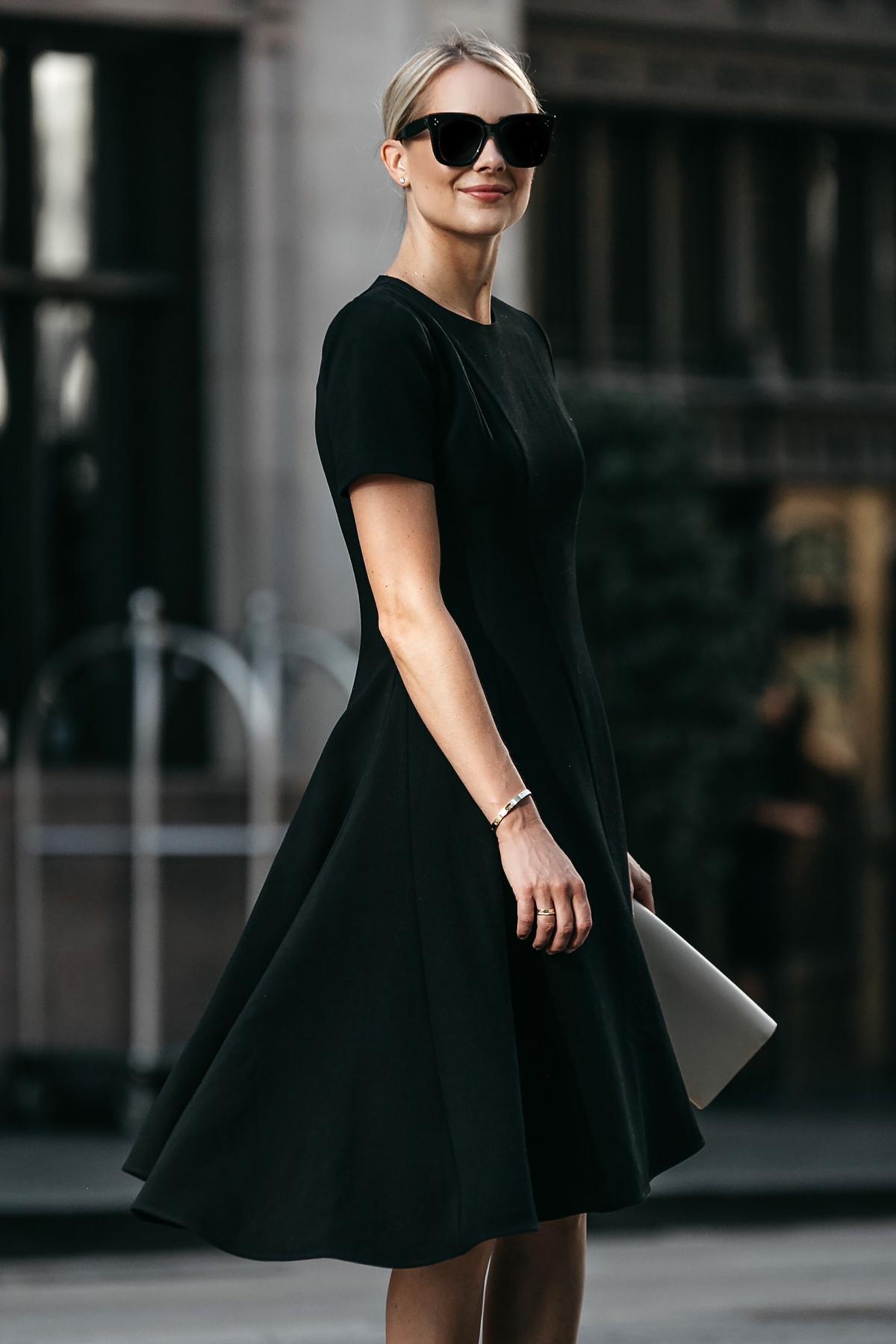 7785c496469c Blonde Woman Wearing Black Halo Asymmetrical Little Black Dress Fashion  Jackson Dallas Blogger Fashion Blogger Street