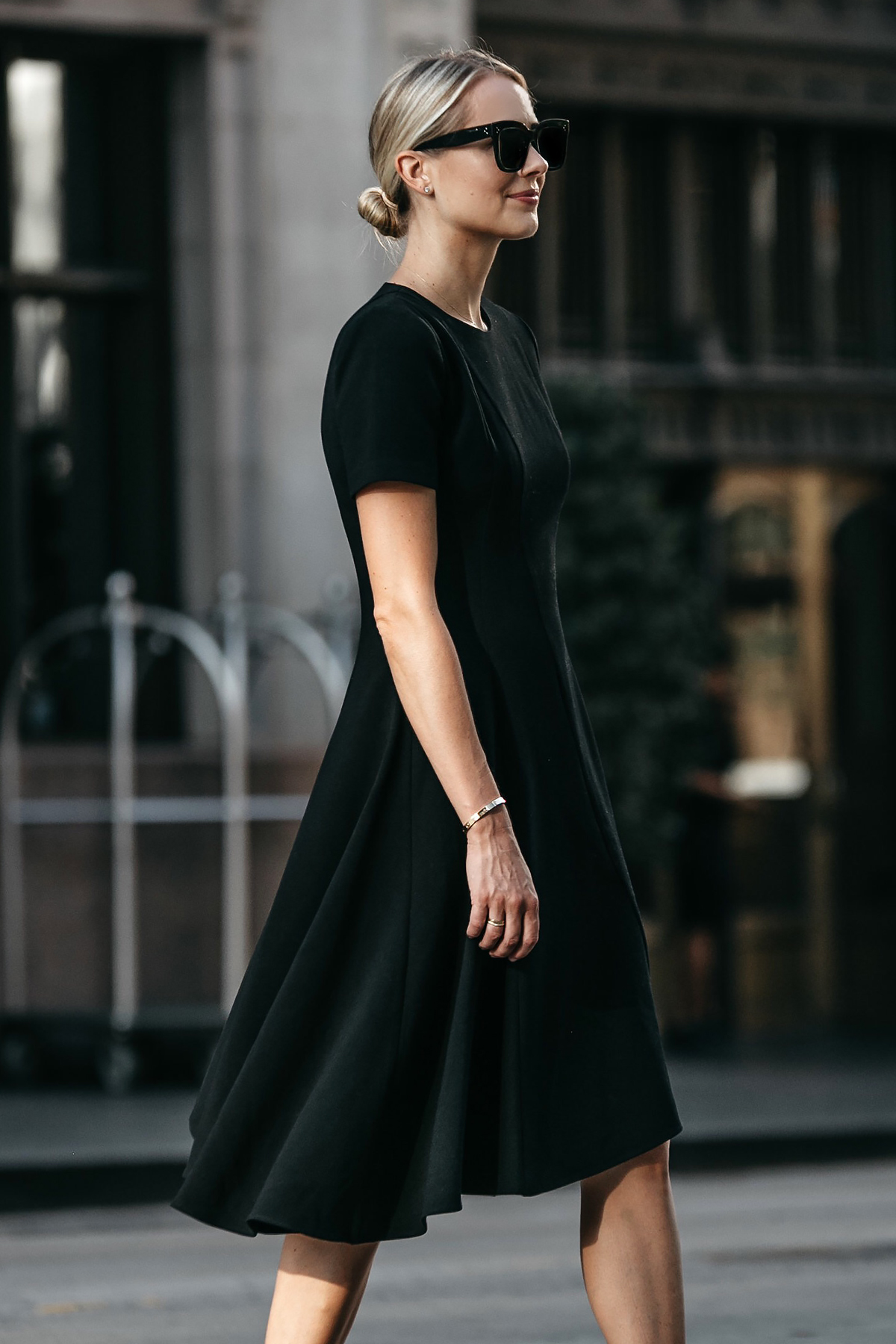 Blonde Woman Wearing Black Halo Asymmetrical Little Black Dress Fashion Jackson Dallas Blogger Fashion Blogger Street Style