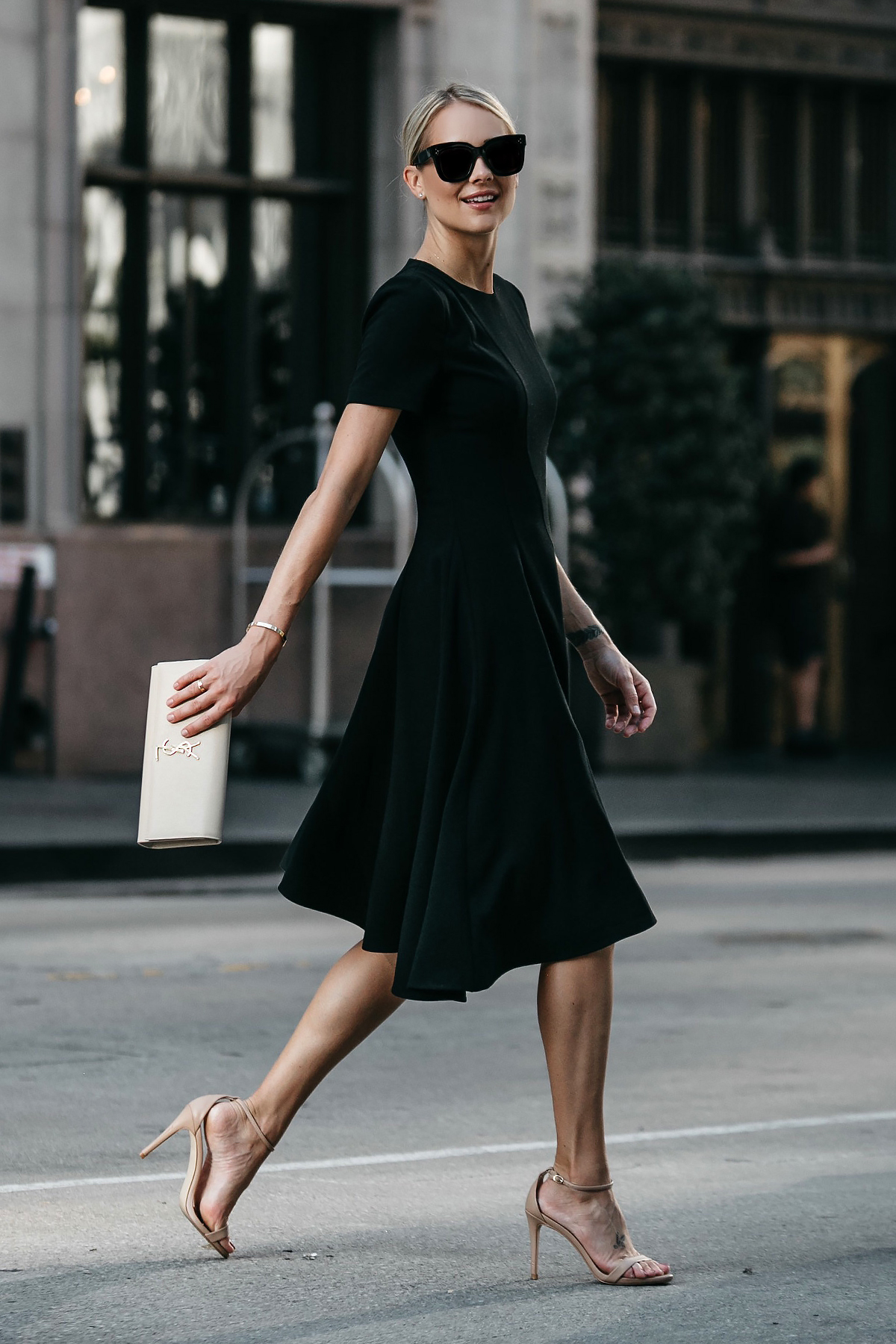 Blonde Woman Wearing Black Halo Asymmetrical Little Black Dress Saint Laurent Nude Clutch Steve Madden Stecy Ankle Strap Heels Fashion Jackson Dallas Blogger Fashion Blogger