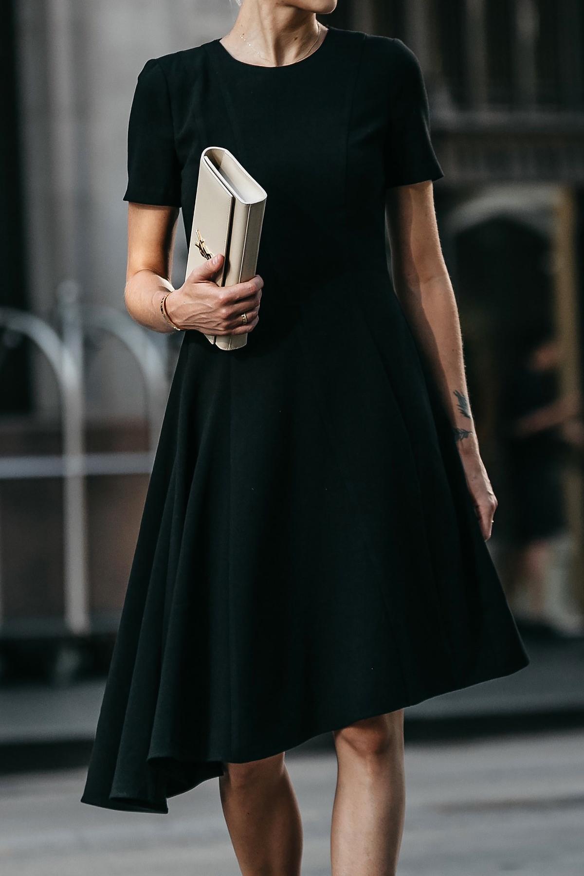 bf55ee16e97f Black Halo Asymmetrical Little Black Dress Saint Laurent Nude Clutch  Fashion Jackson Dallas Blogger Fashion Blogger
