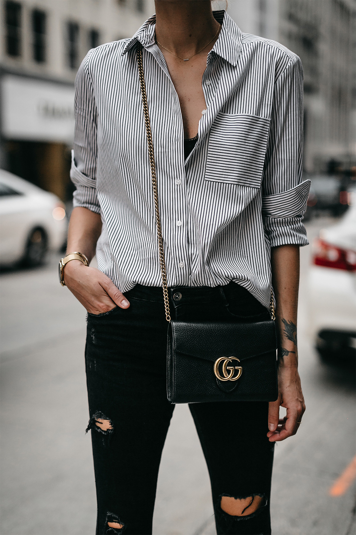Black White Striped Button Down Shirt Gucci Handbag Black Ripped Skinny Jeans Fashion Jackson Dallas Blogger Fashion Blogger Street Styel