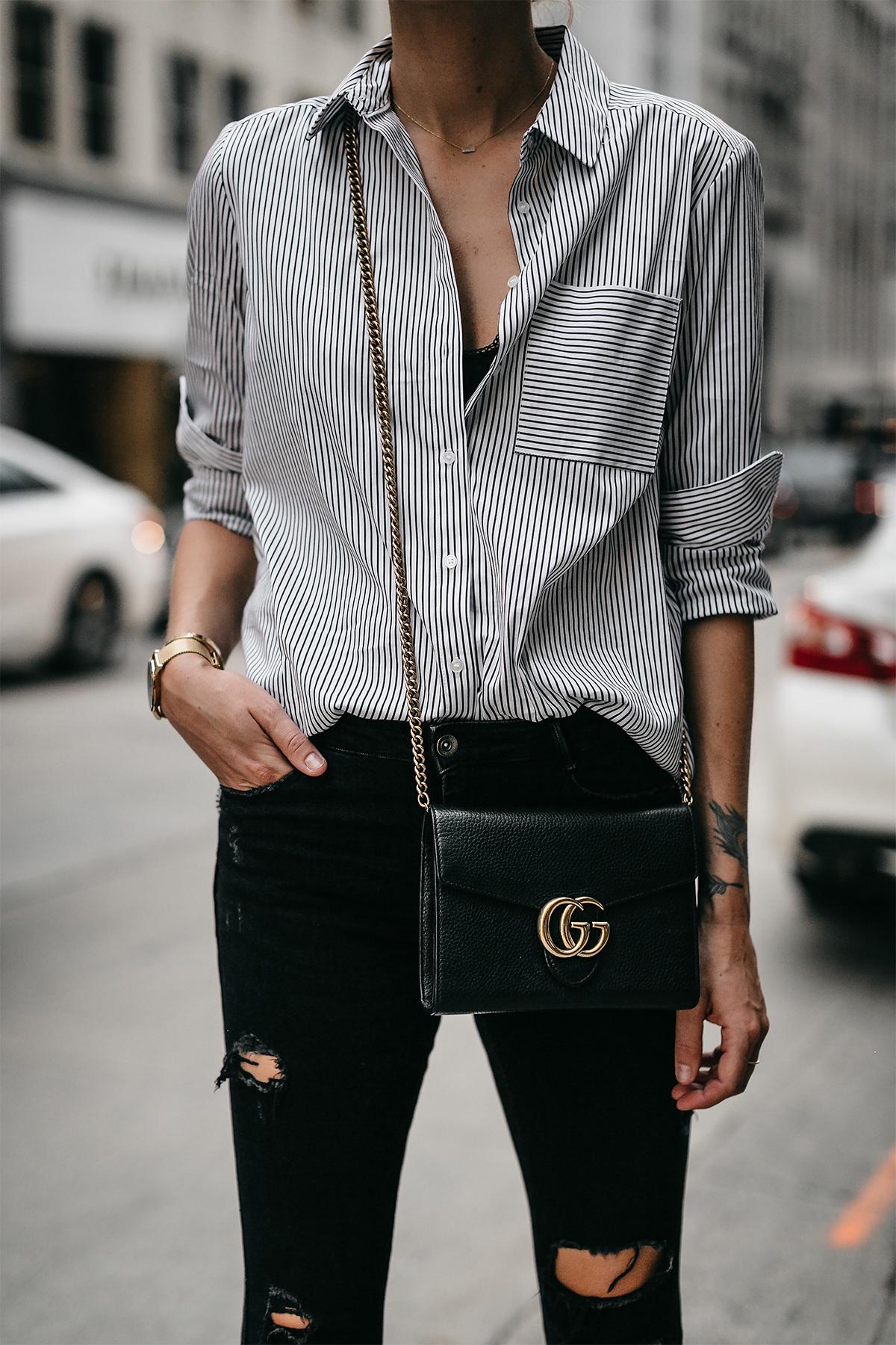 Black White Striped Button Down Shirt Gucci Handbag Black Ripped Skinny Jeans Fashion Jackson Dallas Blogger Fashion Blogger Street Styel