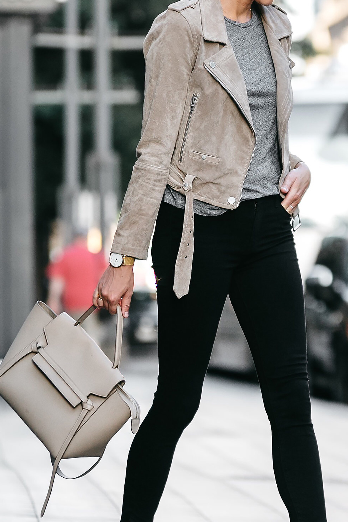 Blanknyc Tan Suede Moto Jacket Grey Tshirt Black Skinny Jeans Outfit Celine Belt Bag Fashion Jackson Dallas Blogger Fashion Blogger Street Style