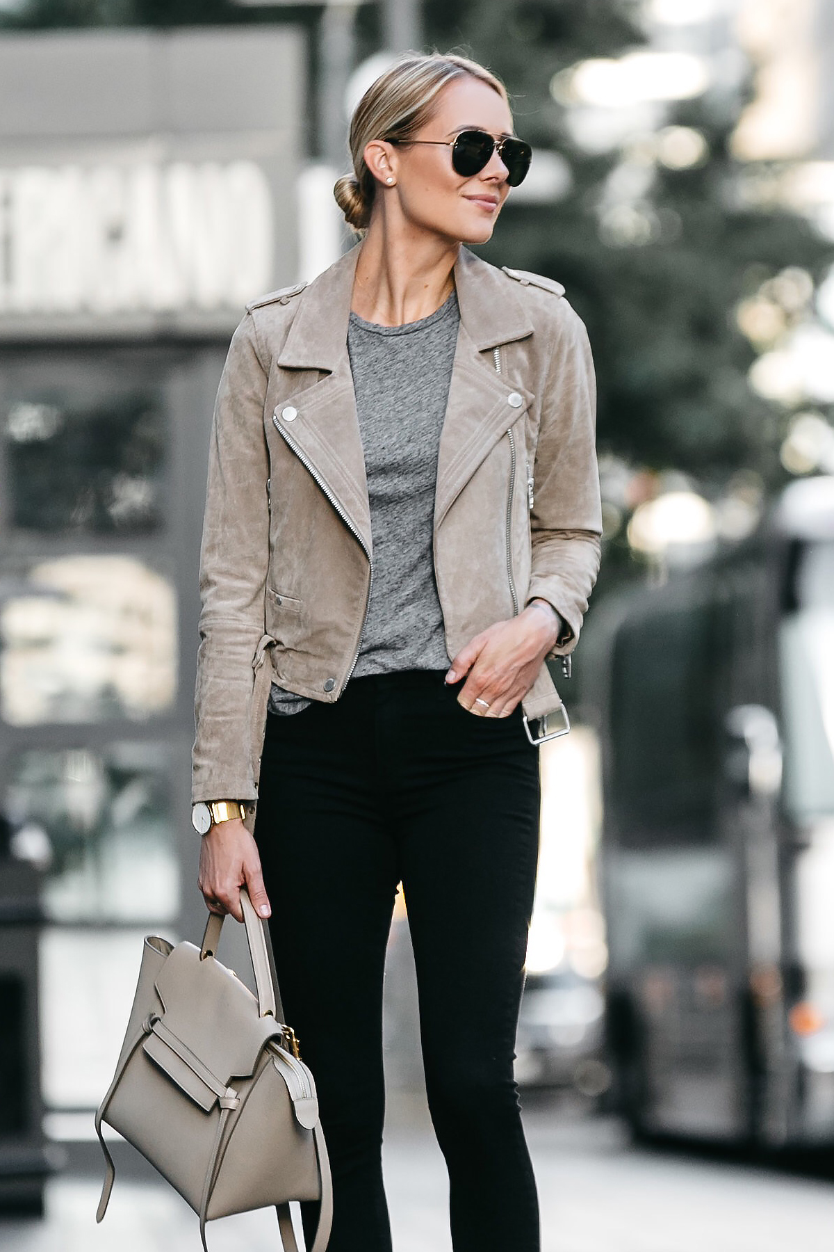 Blonde Woman Wearing Blanknyc Tan Moto Suede Jacket Grey Tshirt Black Skinny Jeans Outfit Celine Belt Bag Fashion Jackson Dallas Blogger Fashion Blogger Street Style