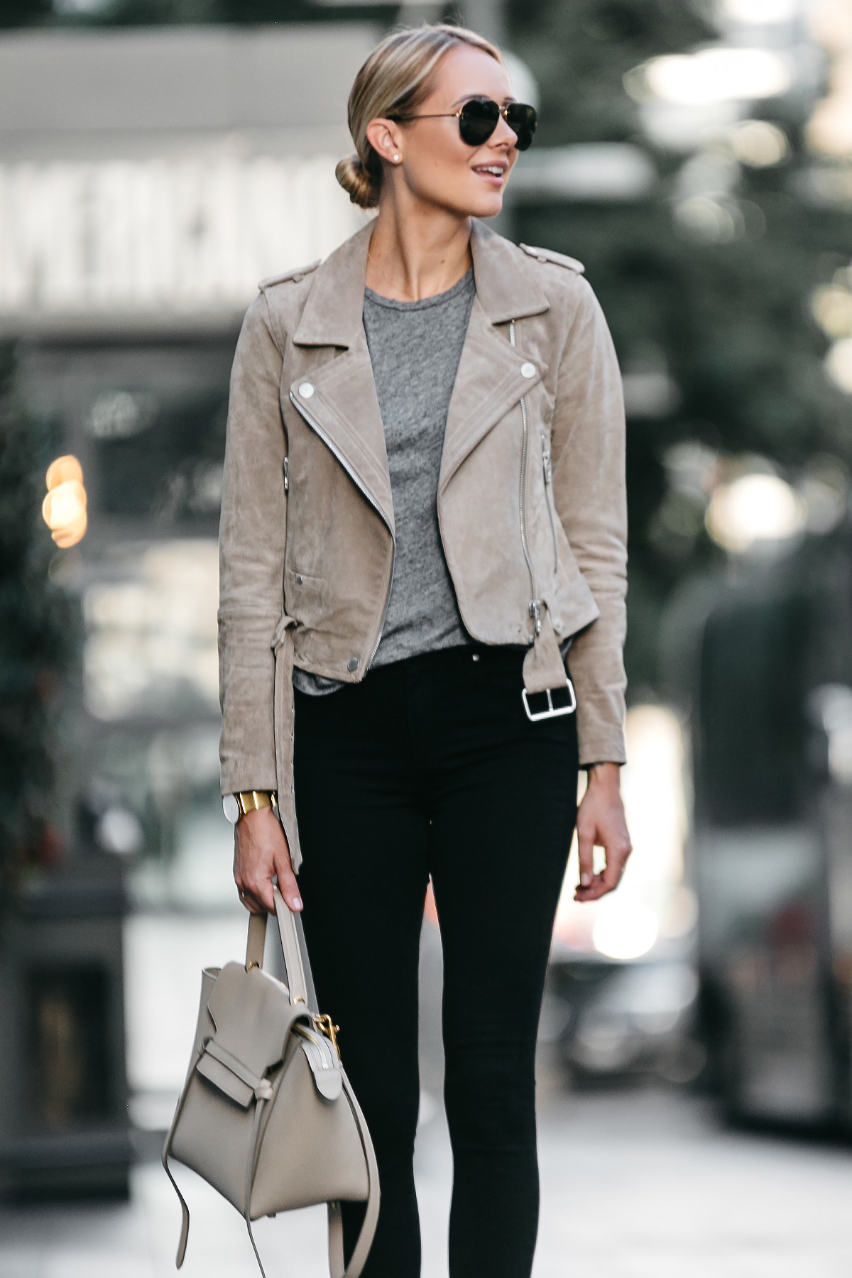 Blonde Woman Wearing Blanknyc Tan Suede Moto Jacket Grey Tshirt Black Skinny Jeans Outfit Celine Belt Bag Fashion Jackson Dallas Blogger Fashion Blogger Street Style