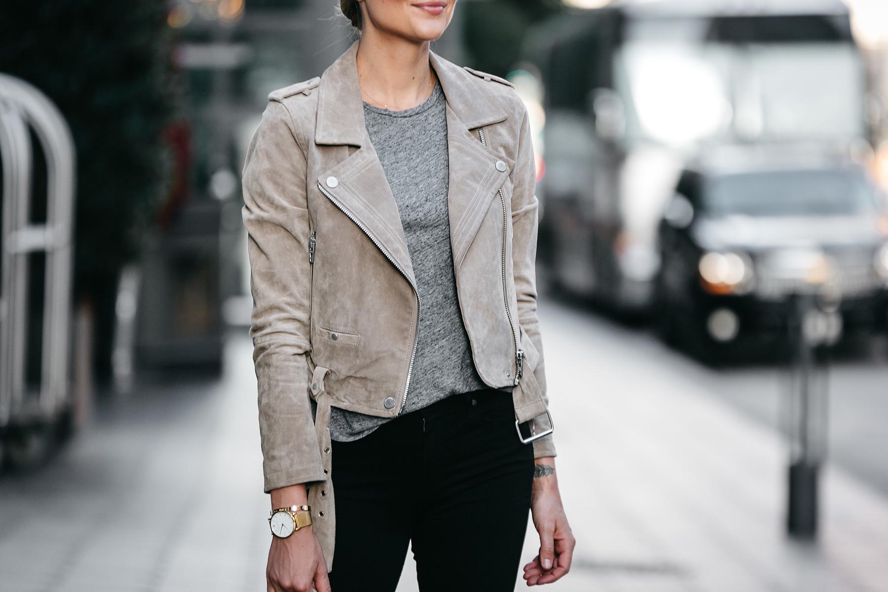 Blanknyc Tan Suede Moto Jacket Grey Tshirt Outfit Fashion Jackson Dallas Blogger Fashion Blogger Street Style