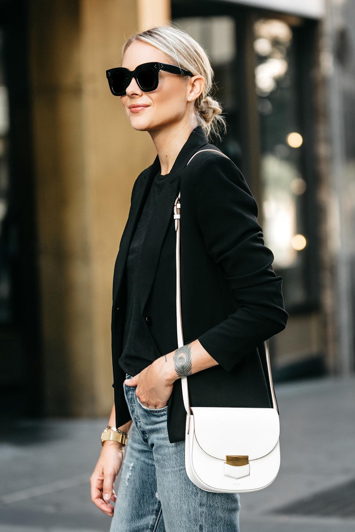 Blonde Woman Wearing Black Blazer Black Tshirt Denim Jeans Outfit Celine Trotteur White Handbag Fashion Jackson Dallas Blogger Fashion Blogger Street Style