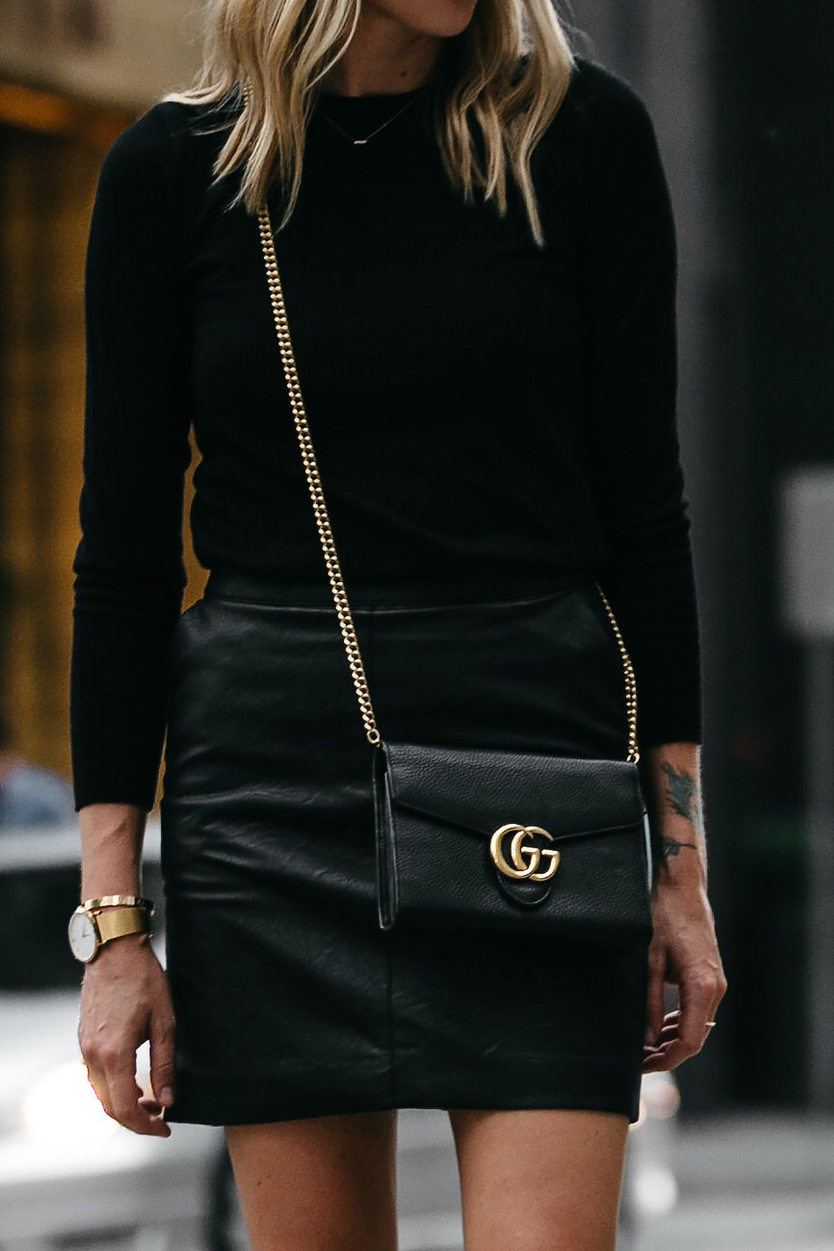 Club Monaco Black Sweater Topshop Black Leather Mini Skirt Outfit Gucci Marmont Handbag Fashion Jackson Dallas Blogger Fashion Blogger Street Style