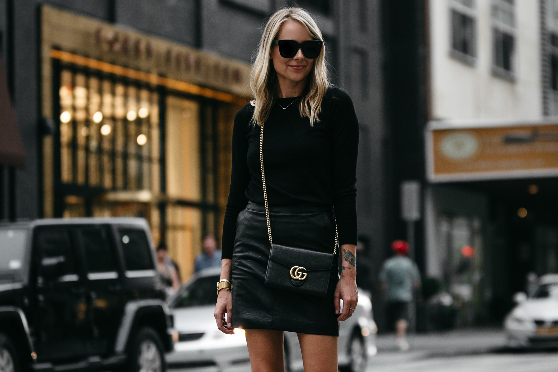 Blonde Woman Wearing Club Monaco Black Sweater Topshop Black Leather Mini Skirt Outfit Gucci Marmont Handbag Fashion Jackson Dallas Blogger Fashion Blogger Street Style