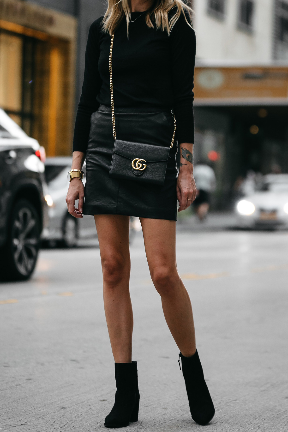 c936207e68 Club Monaco Black Sweater Topshop Black Leather Mini Skirt Outfit Gucci  Marmont Handbag Stuart Weitzman Black