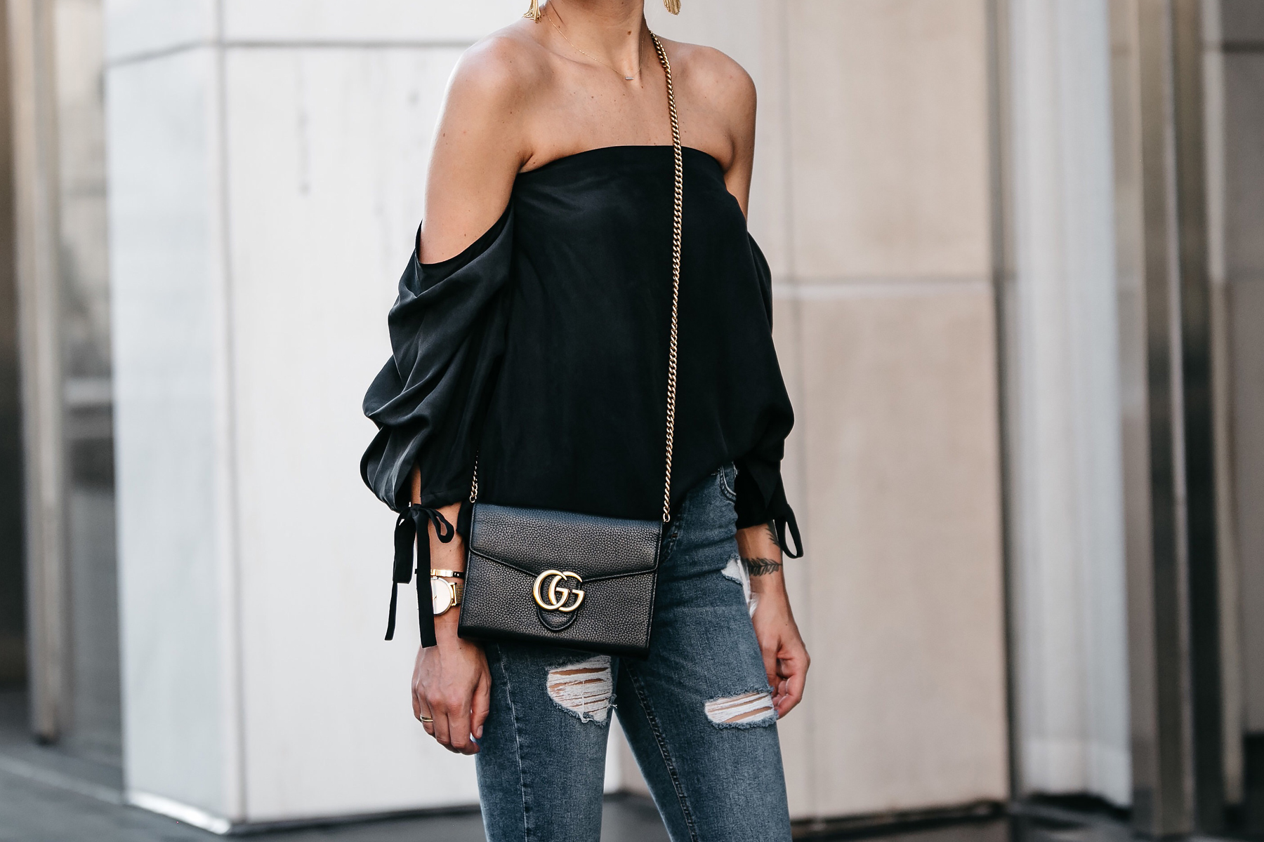 Club Monaco Black Off-the-Shoulder Top Gucci Marmont Handbag