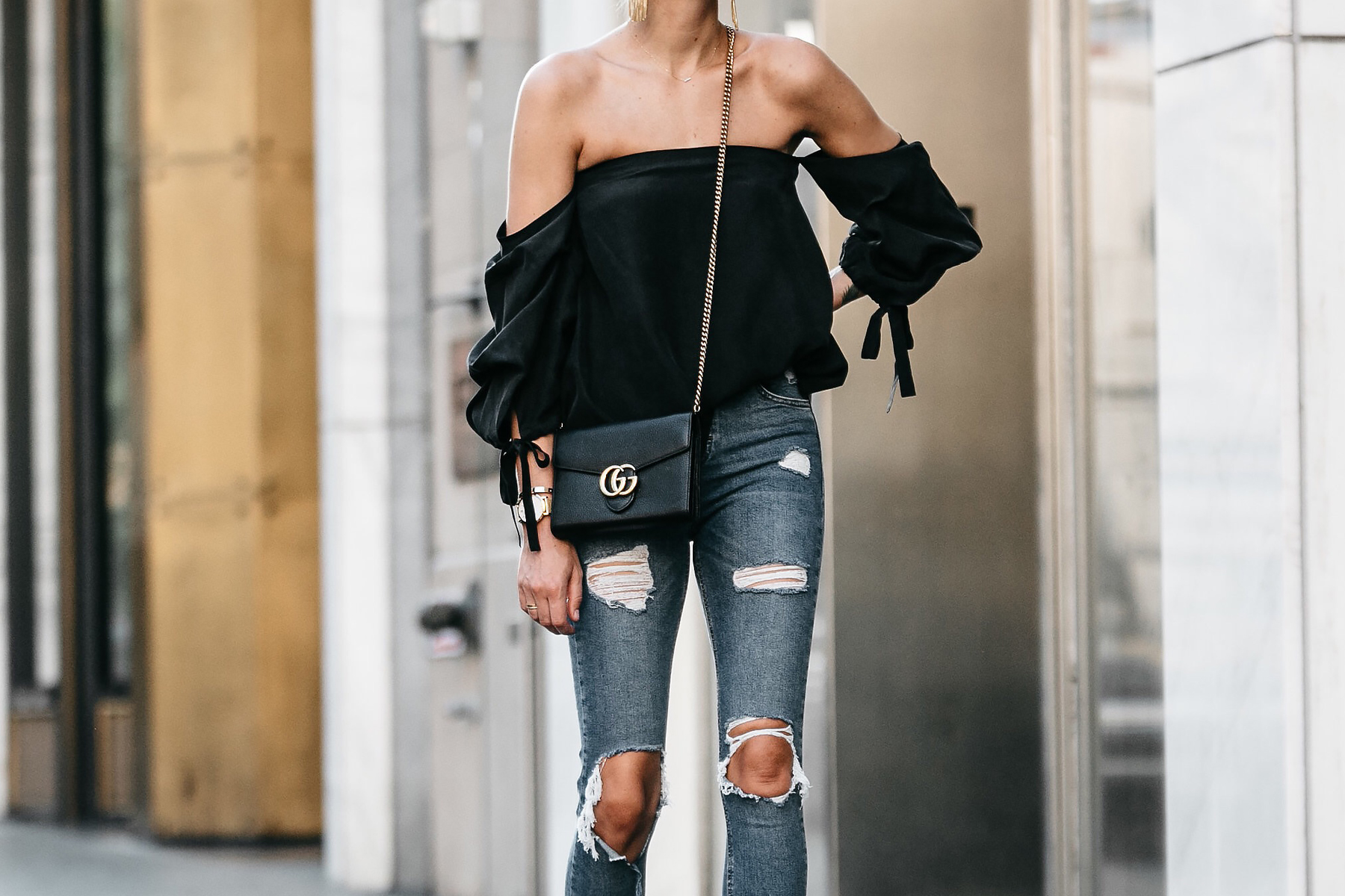 Club Monaco Black Off-the-Shoulder Top Denim Ripped Skinny Jeans Outfit Gucci Marmont Handbag