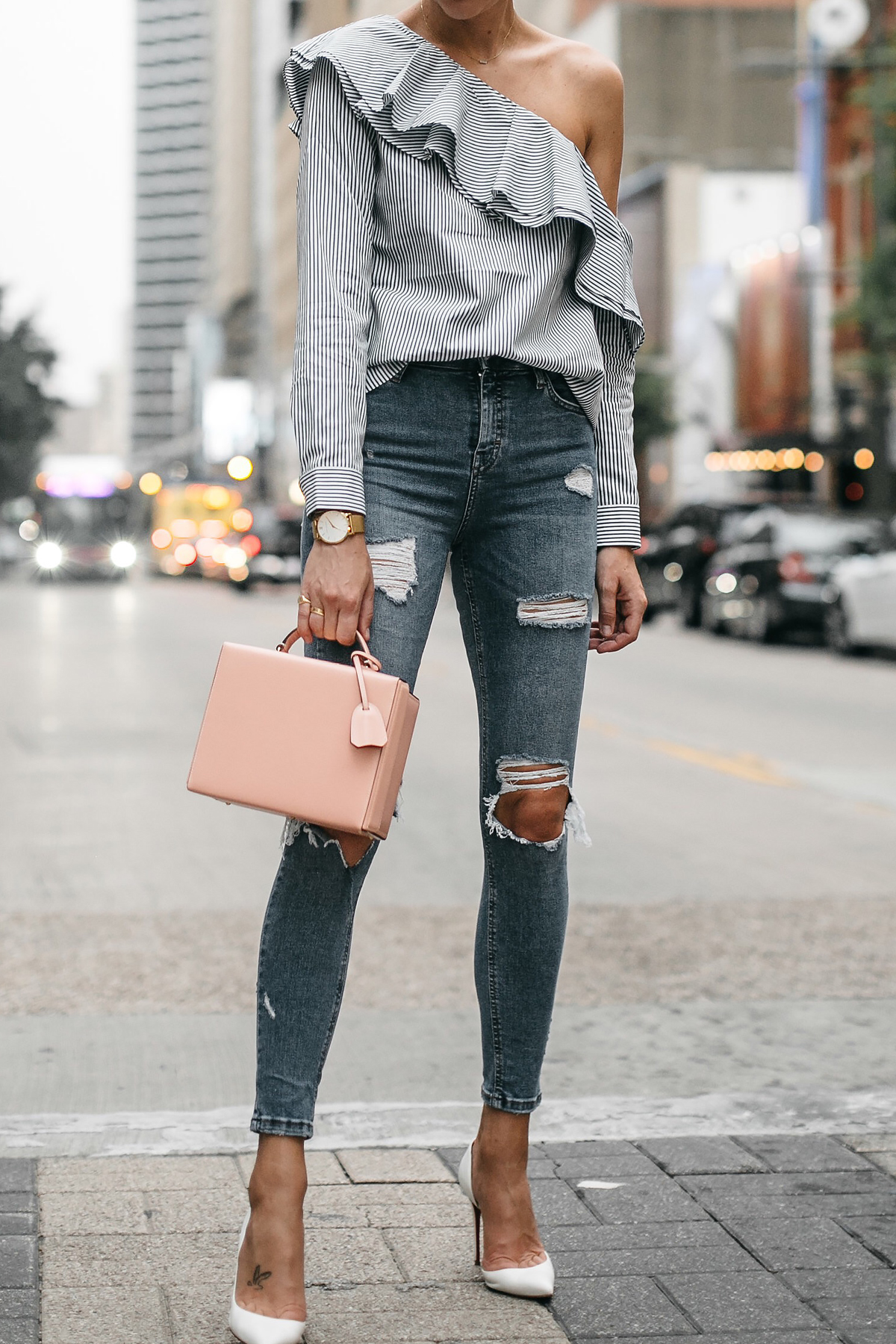 Club Monaco Striped One Shoulder Ruffle Top Denim Ripped Skinny Jeans Mark Cross Saffiano Pink Handbag Christian Louboutin White Pumps Fashion Jackson Dallas Blogger Fashion Blogger Street Style