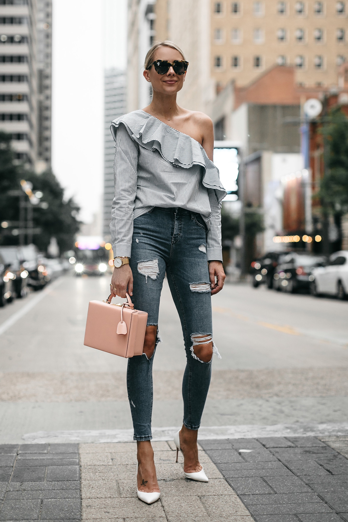 Blonde Woman Wearing Club Monaco Striped One Shoulder Ruffle Top Denim Ripped Skinny Jeans Mark Cross Saffiano Pink Handbag Christian Louboutin White Pumps Fashion Jackson Dallas Blogger Fashion Blogger Street Style