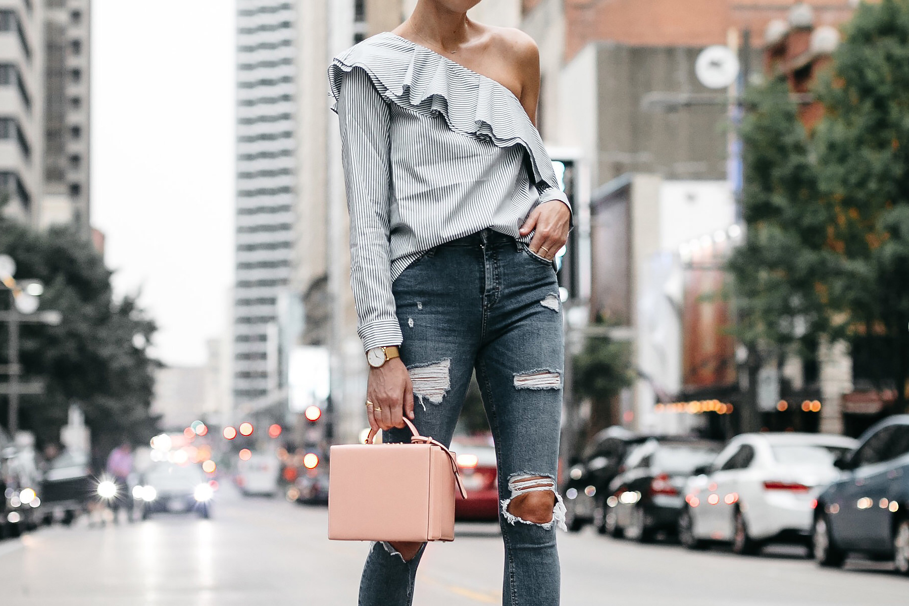 Club Monaco Striped One Shoulder Ruffle Top Mark Cross Pink Saffiano Handbag Fashion Jackson Dallas Blogger Fashion Blogger Street Style