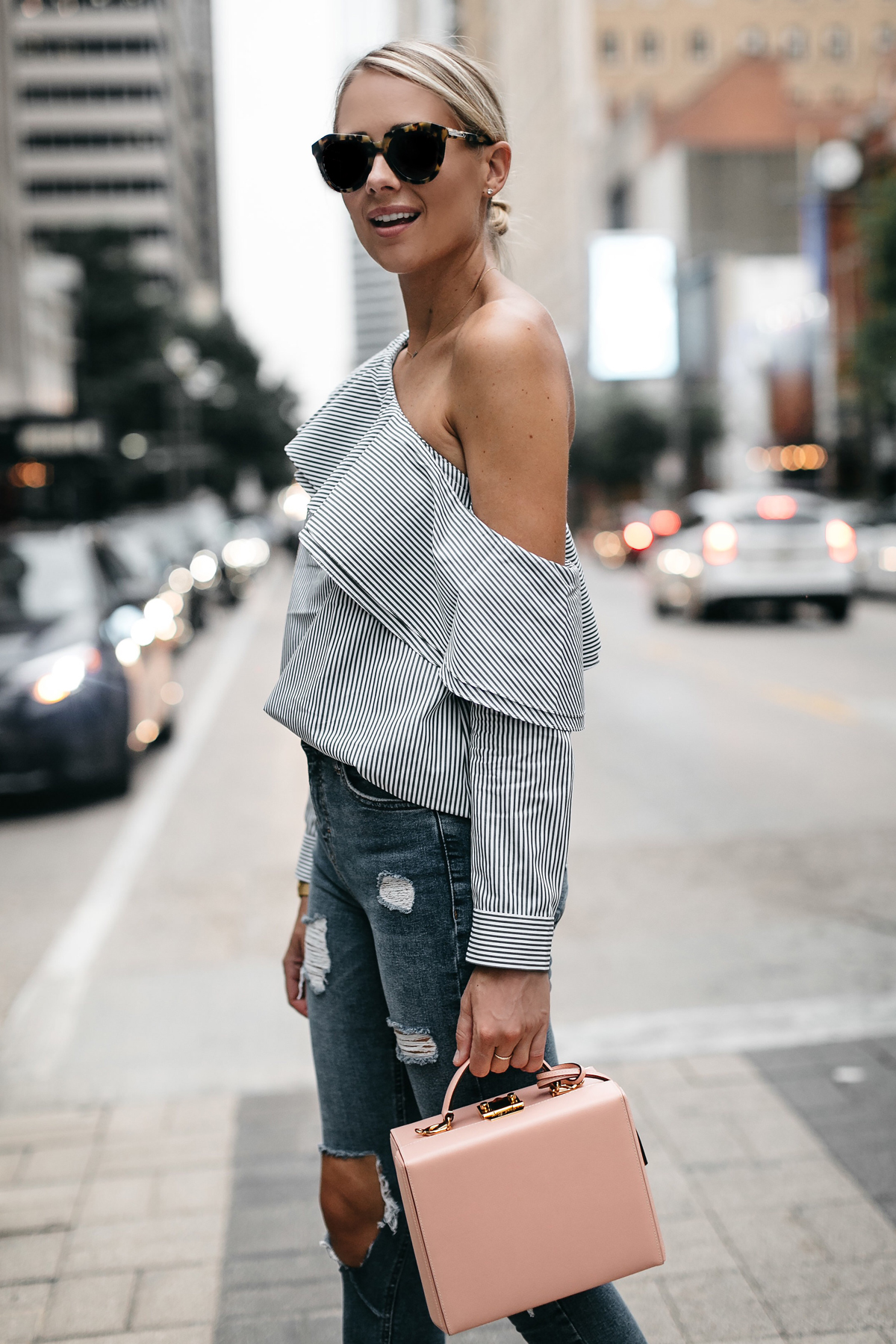 Blonde Woman Wearing Club Moonaco Striped One Shoulder Ruffle Top Ripped Skinny Jeans Mark Cross Saffiano Pink Handbag Fashion Jackson Dallas Blogger Fashion Blogger Street Style