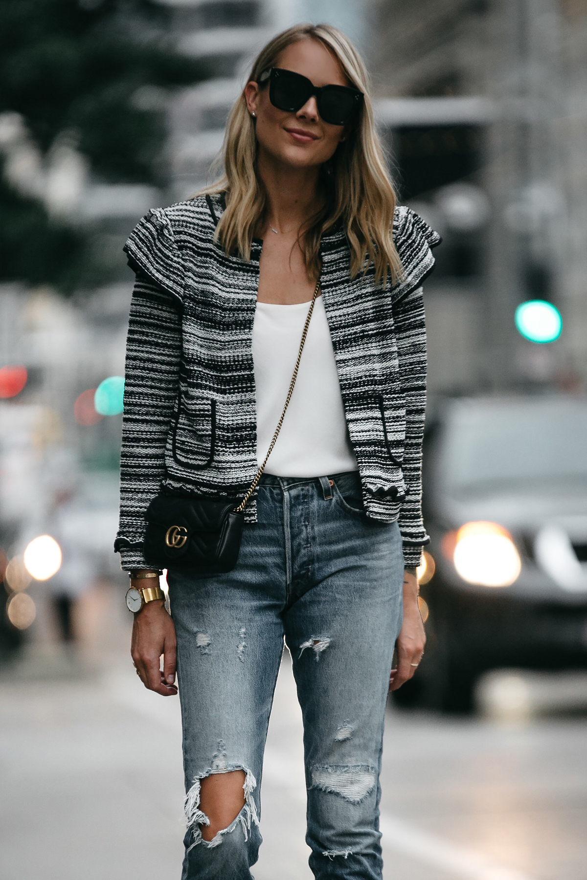 Blonde Woman Wearing Club Monaco Tweed Jacket Denim Ripped Jeans Gucci Mini Marmont Handbag Fashion Jackson Dallas Blogger Fashion Blogger Street Style