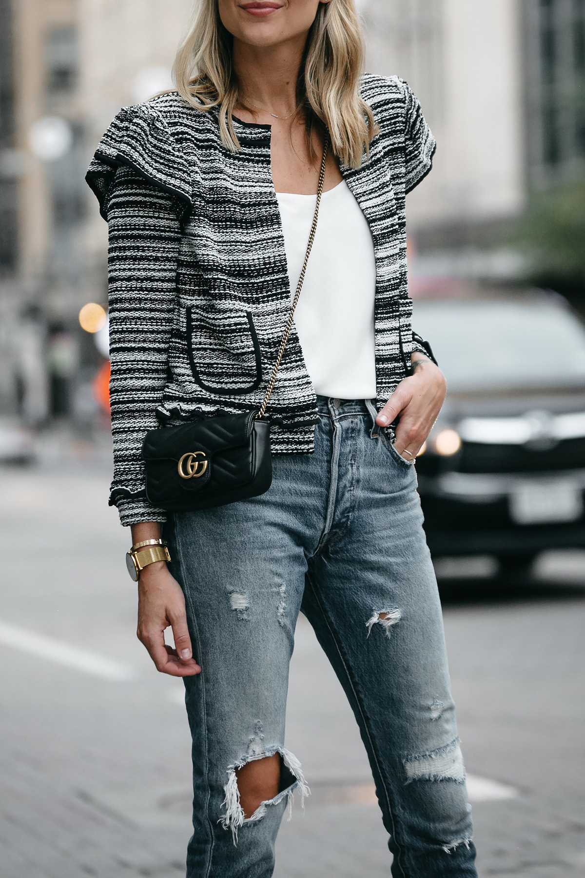 Club Monaco Tweed Jacket Denim Ripped Jeans Gucci Mini Marmont Handbag Fashion Jackson Dallas Blogger Fashion Blogger Street Style