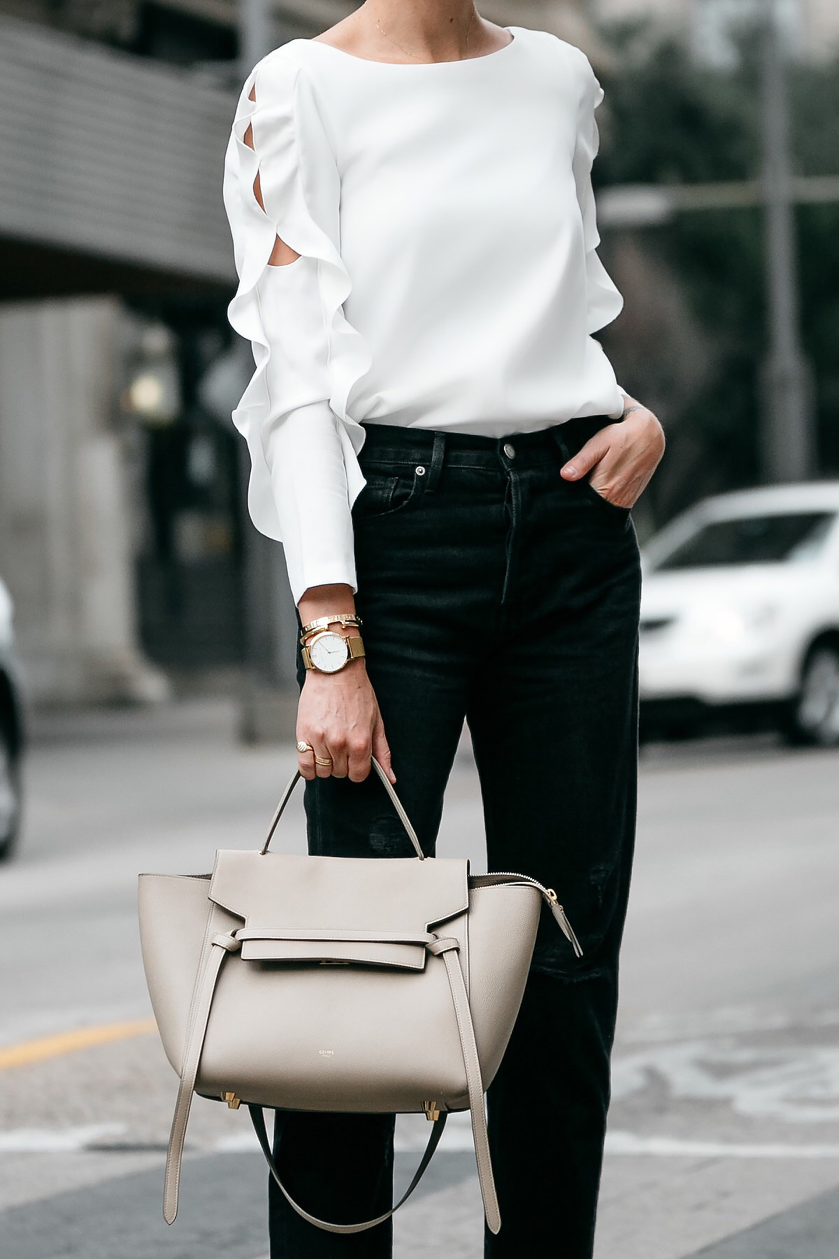 Club Monaco White Ruffle Sleeve Top Frame Black Ripped Boyfriend Jeans Celine Belt Bag Fashion Jackson Dallas Blogger Fashion Blogger Street Style