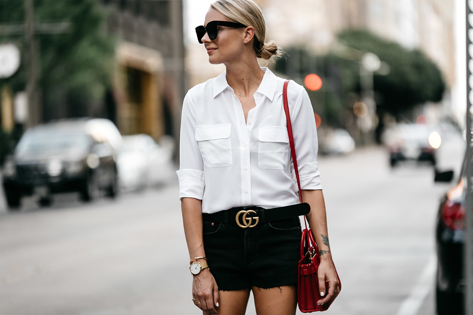 Blonde Woman Wearing White Button Down Shirt Black Denim Shorts Outfit Saint Laurent Sac De Jour Red Handbag Gucci Marmont Belt Fashion Jackson Dallas Blogger Fashion Blogger Street Style