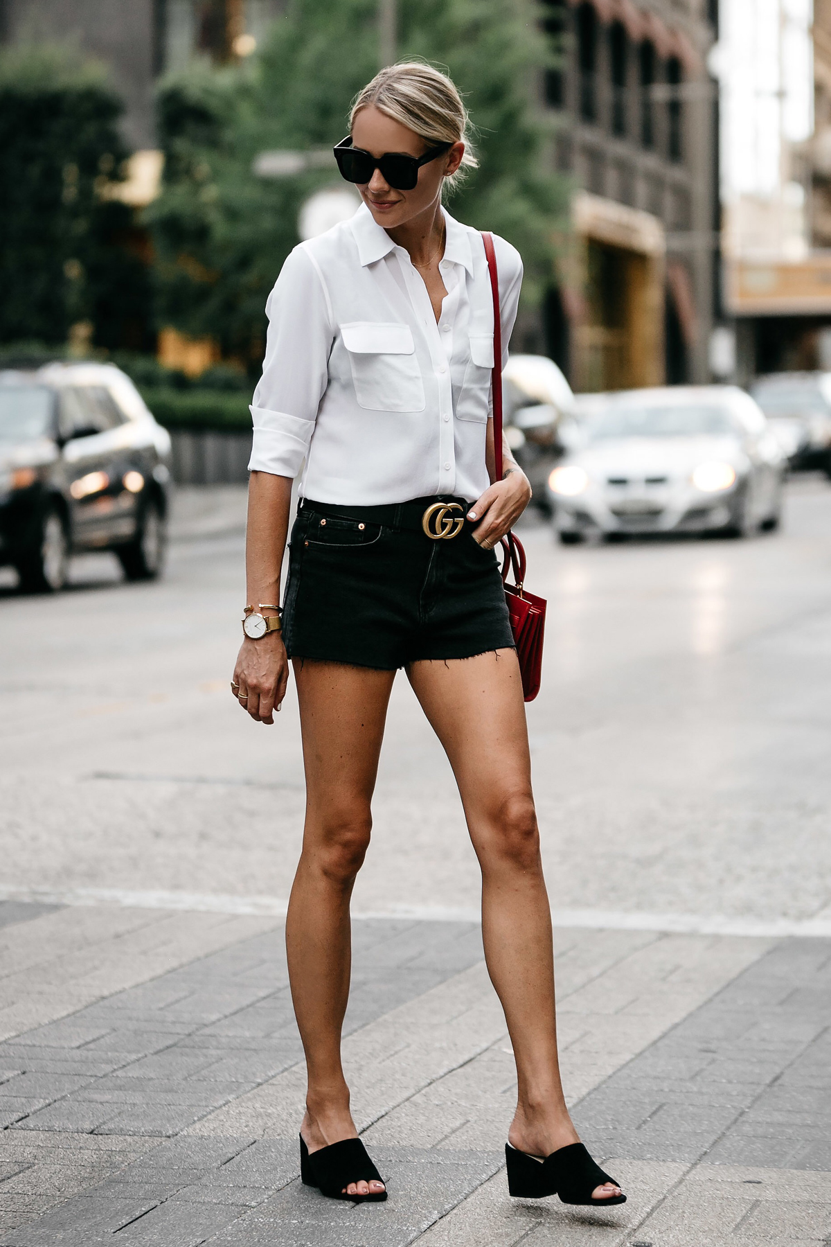 Blonde Woman Wearing White Button Down Shirt Black Denim Shorts Outfit Saint Laurent Sac De Jour Red Handbag Black Mules Gucci Marmont Belt Fashion Jackson Dallas Blogger Fashion Blogger Street Style