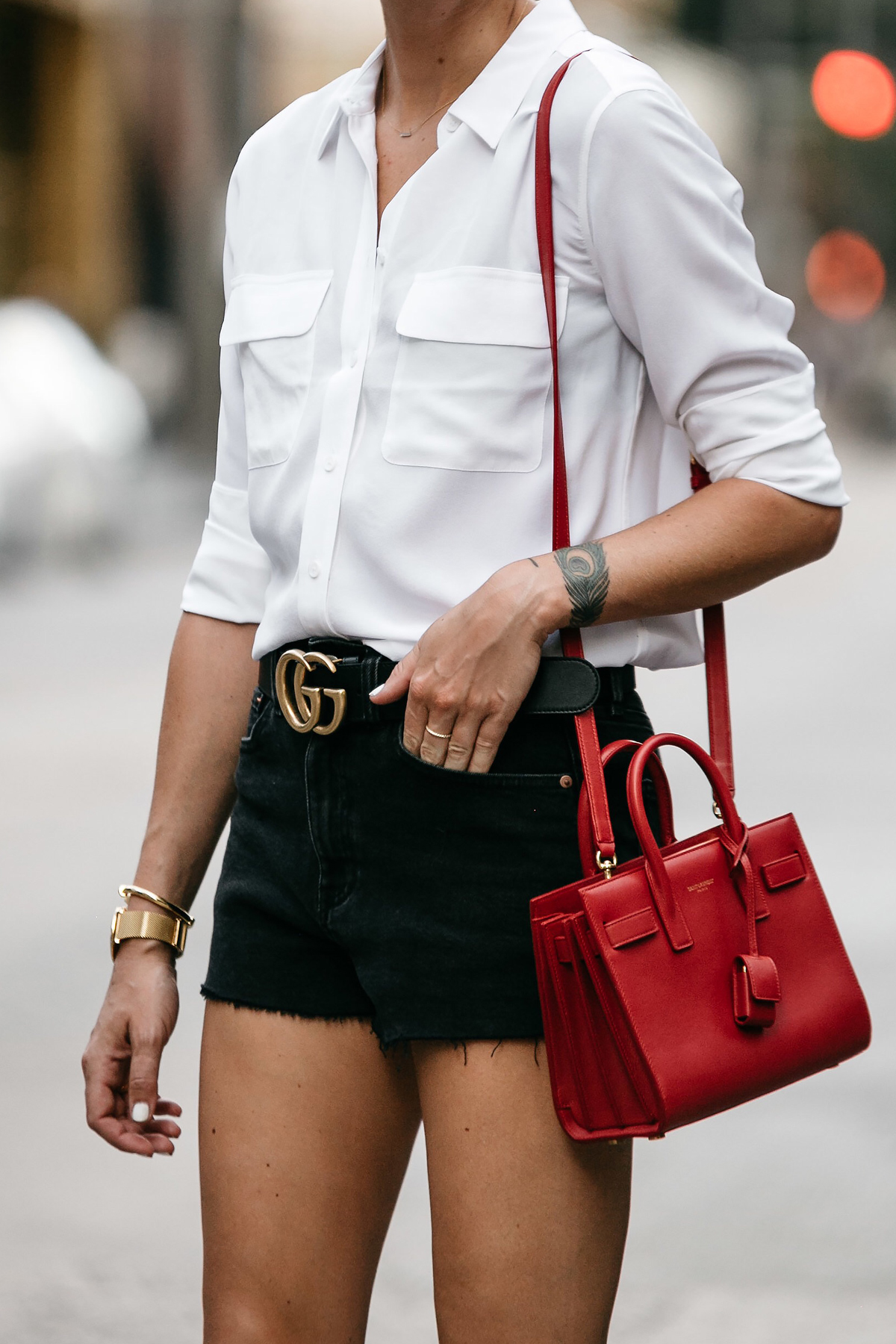 White Button Down Shirt Black Denim Shorts Outfit Saint Laurent Sac De Jour Red Handbag Gucci Marmont Belt Fashion Jackson Dallas Blogger Fashion Blogger Street Style