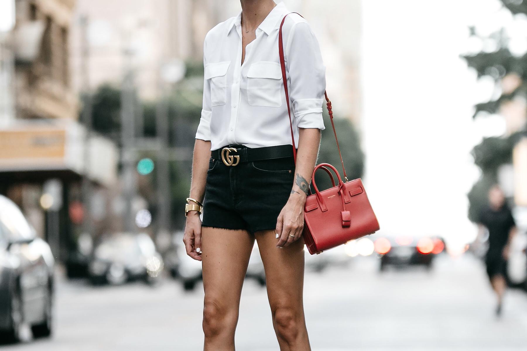 White Button Down Shirt Black Denim Shorts Outfit Saint Laurent Sac De Jour Red Handbag Gucci Marmont Belt Fashion Jackson Dallas Blogger Fashion Blogger Street Style