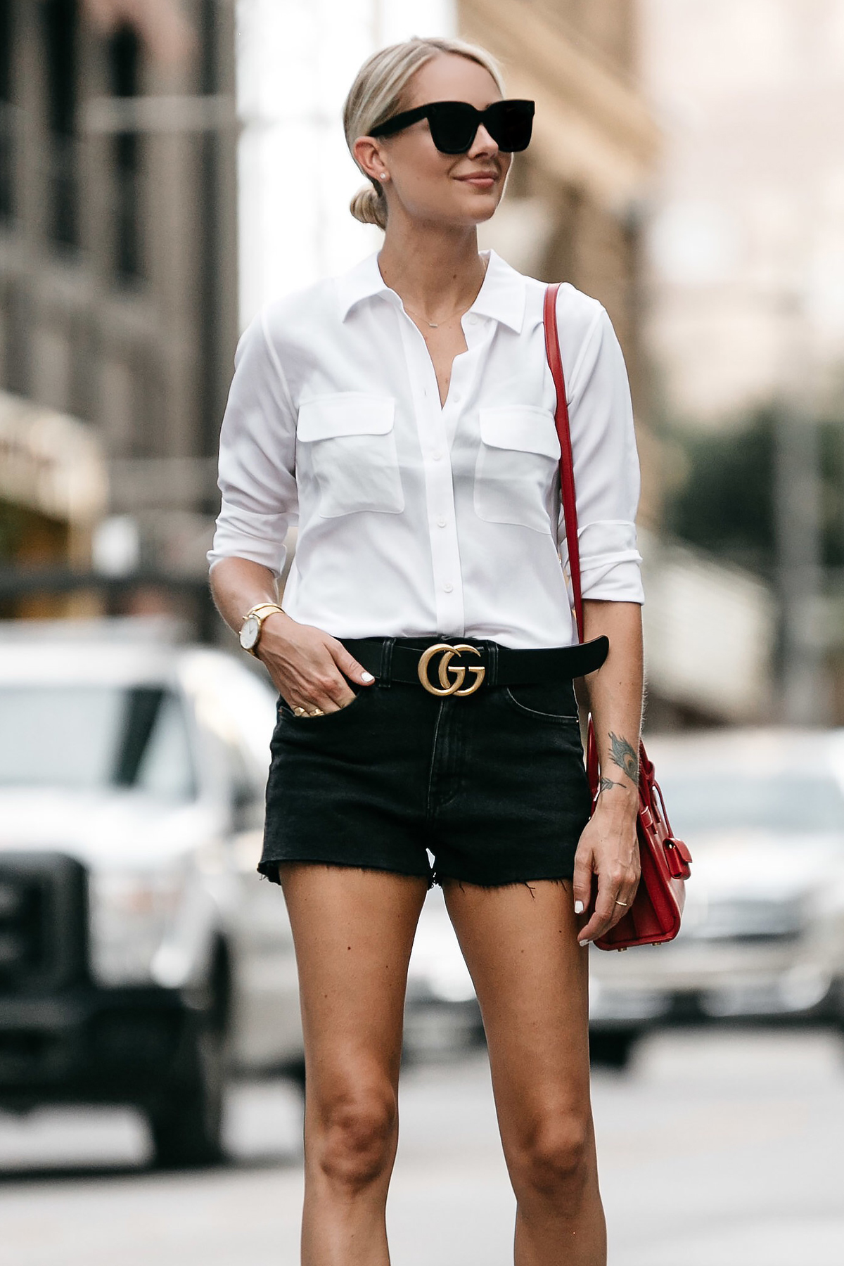 Blonde Woman Wearing White Button Down Shirt Black Denim Shorts Outfit Saint Laurent Sac De Jour Red Handbag Gucci Marmont Belt Fashion Jackson Dallas Blogger Fashion Blogger Street Style