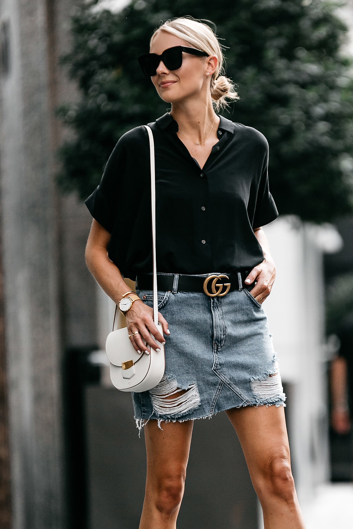 Blonde Woman Wearing Everlane Black Short Sleeve Shirt Topshop Ripped Denim Skirt Outfit Gucci Marmont Belt Celine Trotteur White Handbag Fashion Jackson Dallas Blogger Fashion Blogger Street Style
