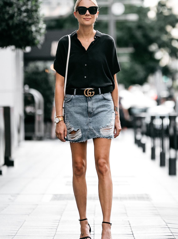 Blonde Woman Wearing Everlane Black Short Sleeve Shirt Topshop Ripped Denim Skirt Outfit Gucci Marmont Belt Celine Trotteur White Handbag Black Ankle Strap Sandals Fashion Jackson Dallas Blogger Fashion Blogger Street Style
