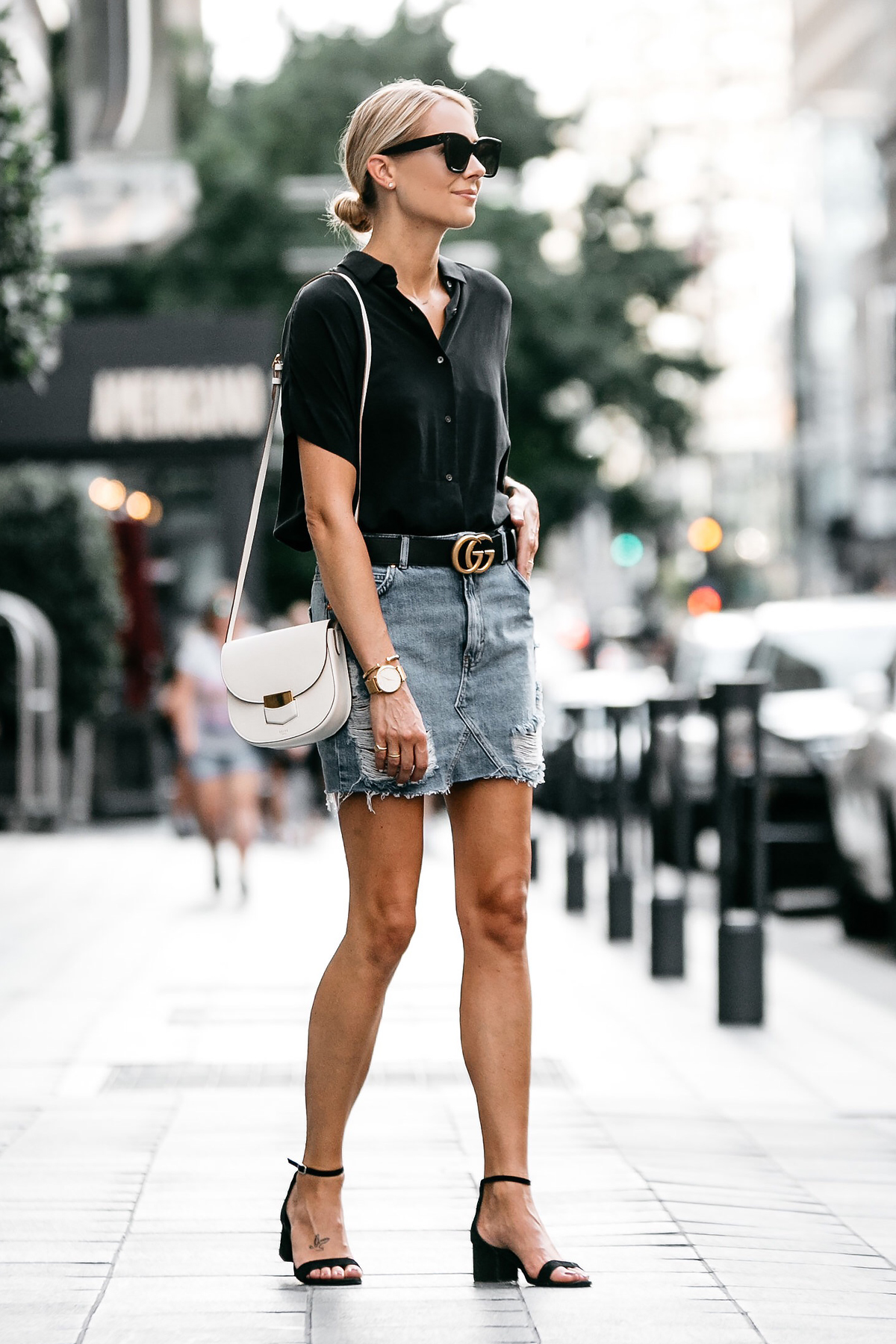 Blonde Woman Wearing Everlane Black Short Sleeve Shirt Topshop Ripped Denim Skirt Outfit Gucci Marmont Belt Celine Trotteur White Handbag Black Ankle Strap Sandals Fashion Jackson Dallas Blogger Fashion Blogger Street Style