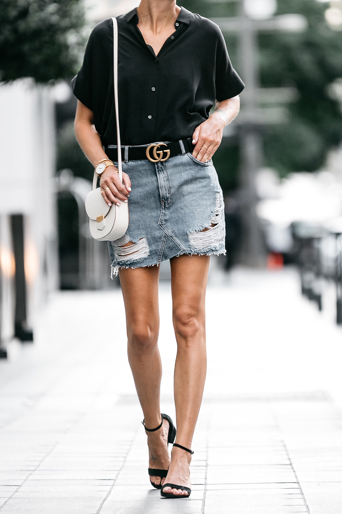 Everlane Black Short Sleeve Shirt Topshop Ripped Denim Skirt Outfit Gucci  Marmont Belt Celine Trotteur White 1d594514f7