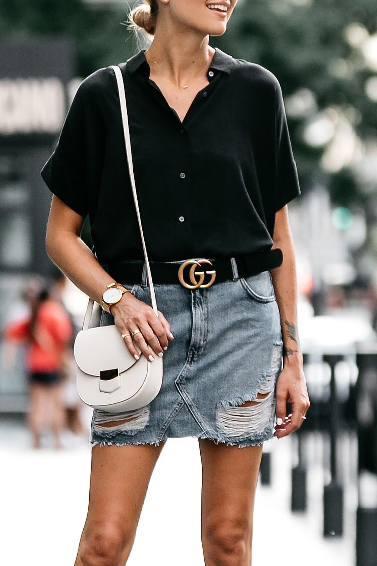 861b1180e47 Everlane Black Short Sleeve Shirt Topshop Ripped Denim Skirt Outfit Gucci  Marmont Belt Celine Trotteur White