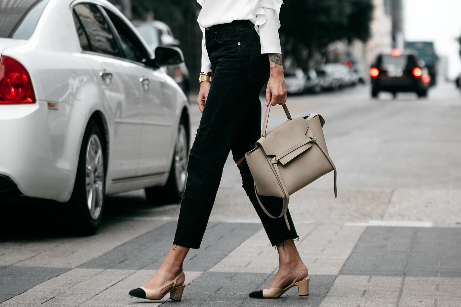 Frame Black Ripped Boyfriend Jeans Celine Belt Bag Chanel Slingbacks Fashion Jackson Dallas Blogger Fashion Blogger Street Style