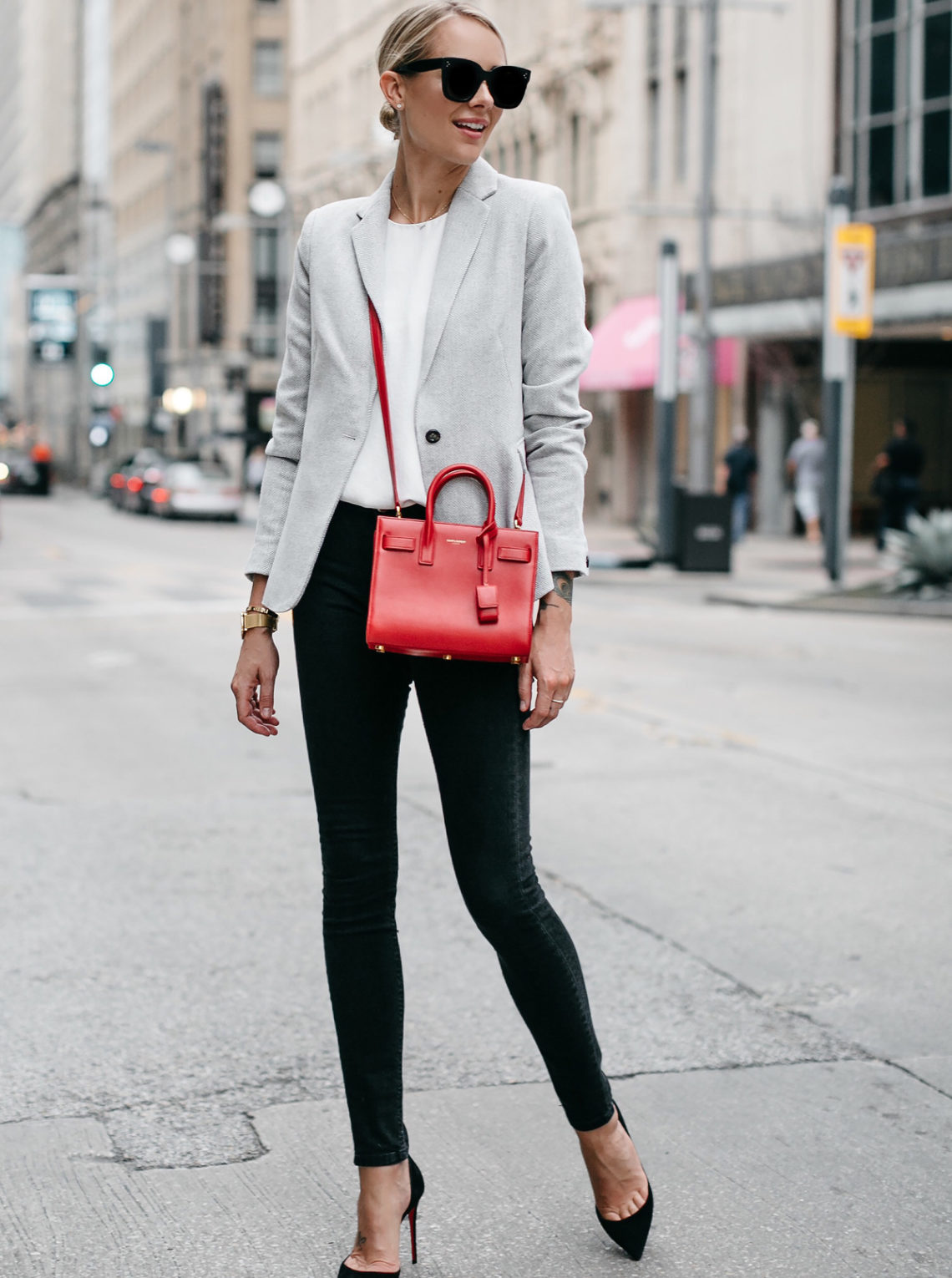 Blonde Woman Wearing Grey Blazer White Top Black Skinny Jeans Black Pumps Saint Laurent Sac de Jour Nano Red Fashion Jackson Dallas Blogger Fashion Blogger Street Style