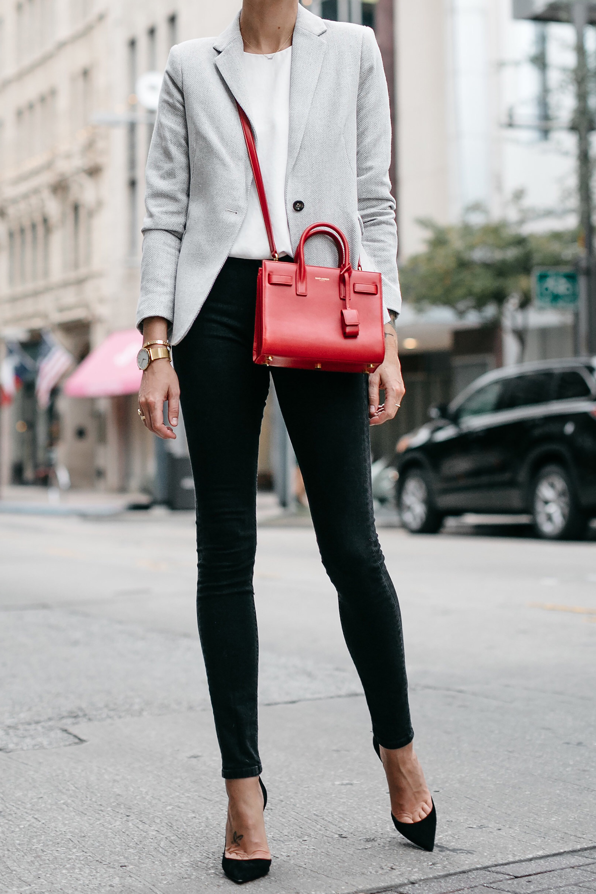 Grey Blazer White Top Black Skinny Jeans Black Pumps Saint Laurent Sac de Jour Nano Red Fashion Jackson Dallas Blogger Fashion Blogger Street Style