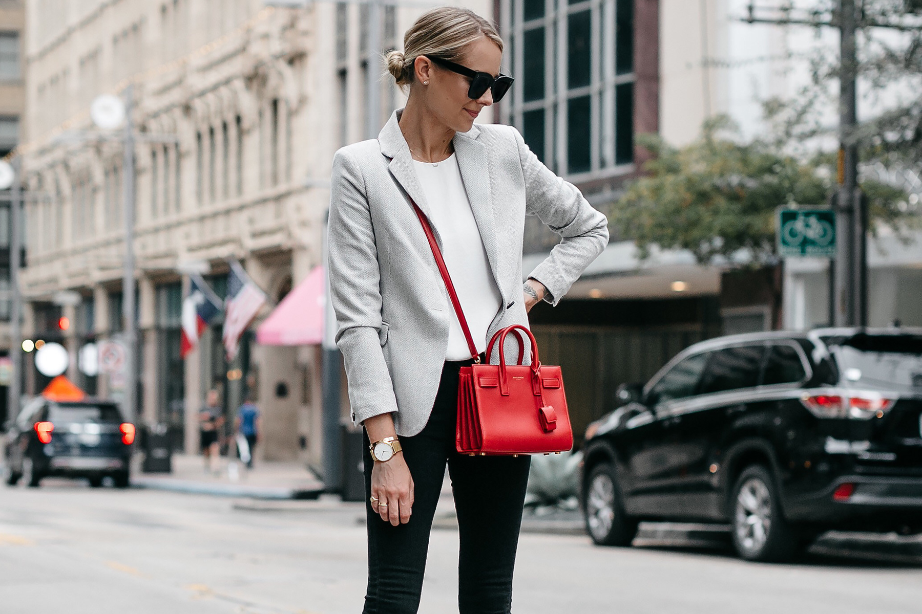 Blonde Woman Wearing Grey Blazer White Top Black Skinny Jeans Saint Laurent Sac de Jour Nano Red Fashion Jackson Dallas Blogger Fashion Blogger Street Style