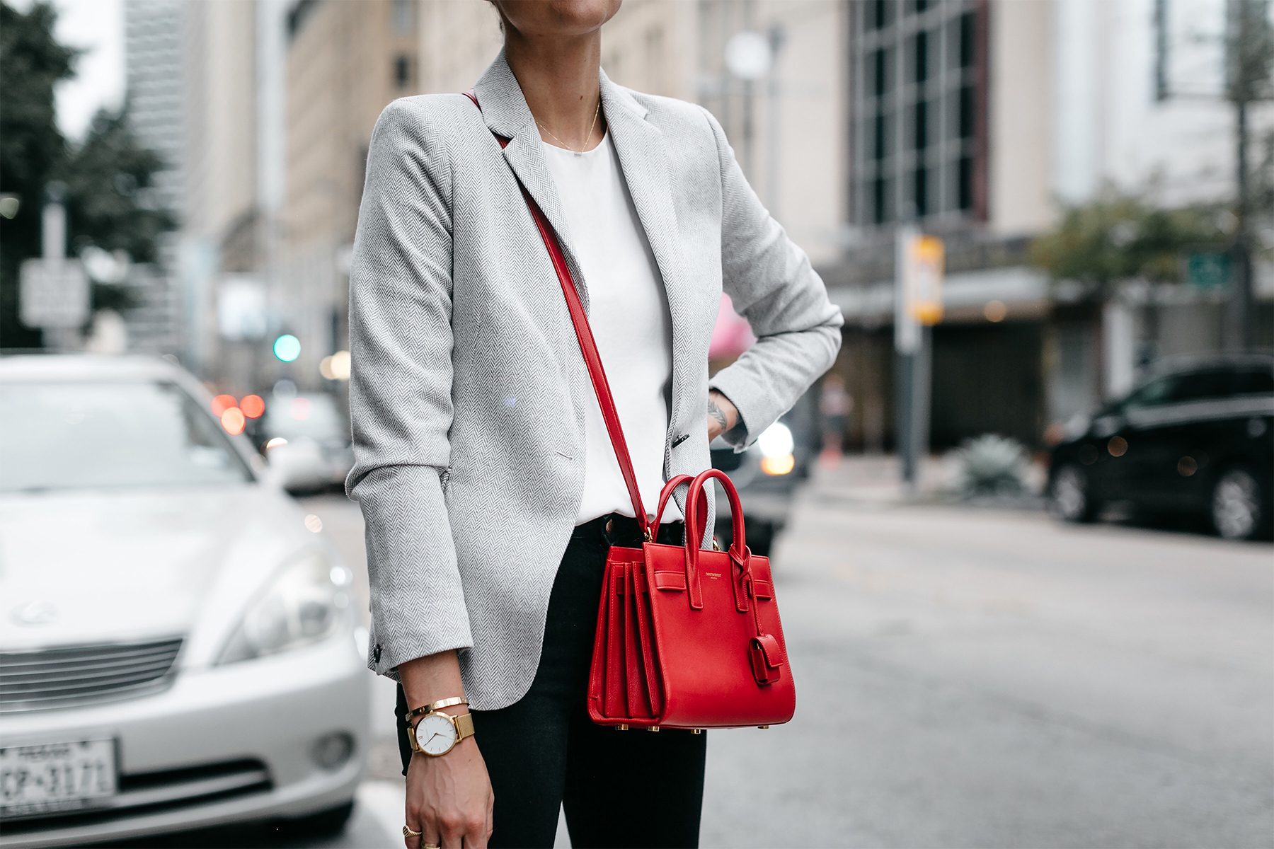 Grey Blazer White Top Black Skinny Jeans Saint Laurent Sac de Jour Nano Red Fashion Jackson Dallas Blogger Fashion Blogger Street Style