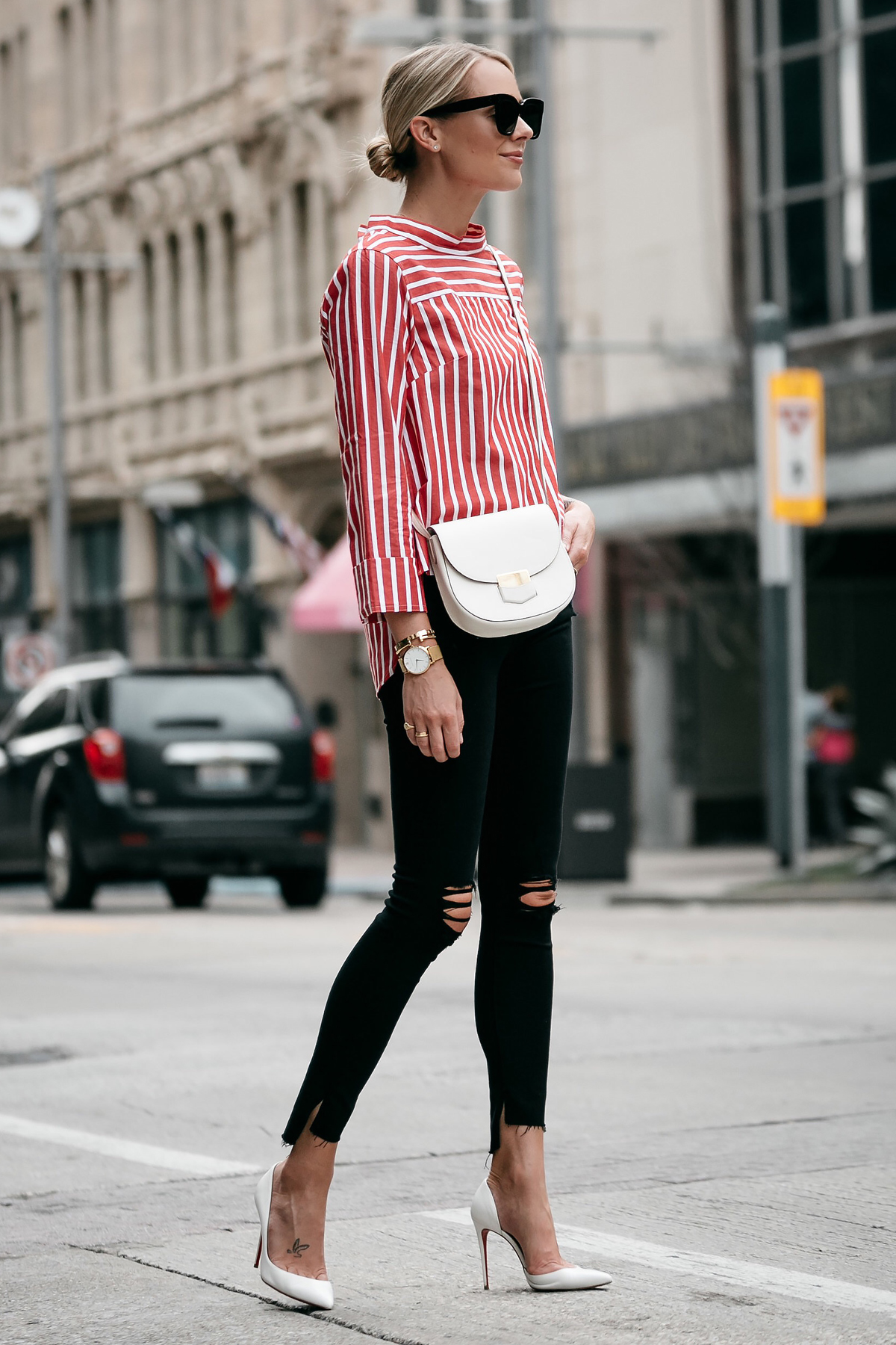 Blonde Woman Wearing Jcrew Red White Striped Shirt Black Ripped Skinny Jeans Outfit Celine White Trotteur Handbag Christian Louboutin White Pumps Fashion Jackson Dallas Blogger Fashion Blogger Street Style