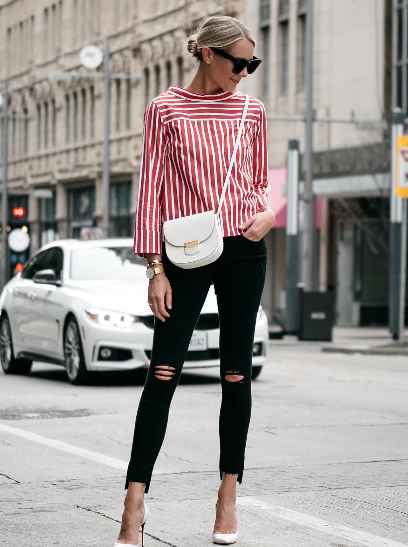 Blonde Woman Wearing Jcrew Red White Stripe Shirt Black Ripped Skinny Jeans Outfit Celine White Trotteur Handbag Christian Louboutin White Pumps Fashion Jackson Dallas Blogger Fashion Blogger Street Style