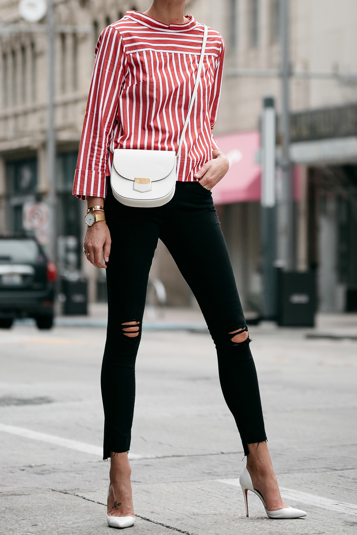 Jcrew Red White Striped Shirt Black Ripped Skinny Jeans Outfit Celine White Trotteur Handbag Christian Louboutin White Pumps Fashion Jackson Dallas Blogger Fashion Blogger Street Style