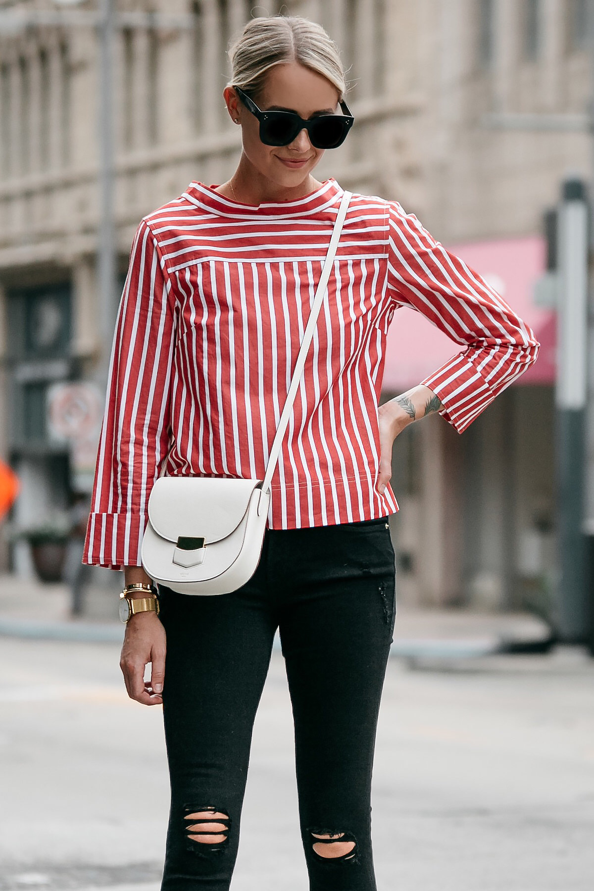 Blonde Woman Wearing Jcrew Red White Striped Shirt Celine White Trotteur Handbag Black Ripped Skinny Jeans Fashion Jackson Dallas Blogger Fashion Blogger Street Style