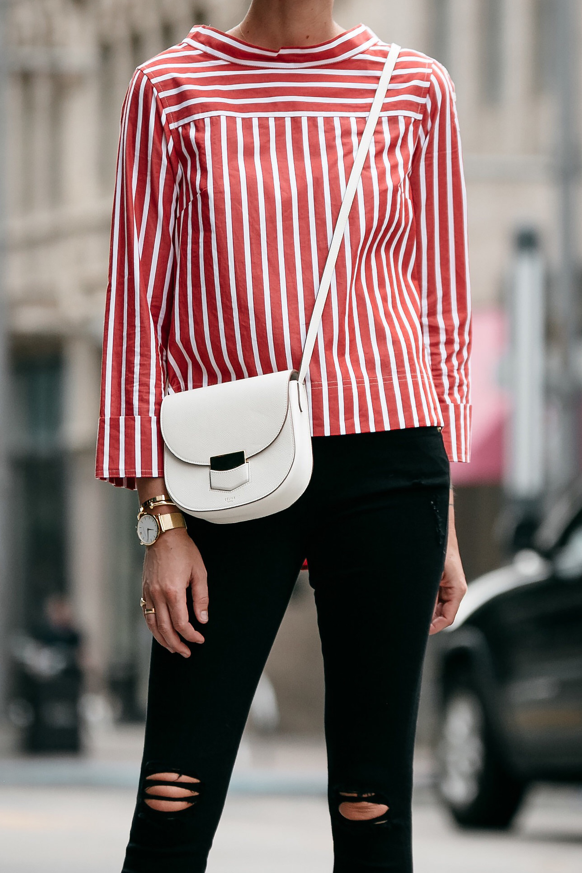 Jcrew Red White Striped Shirt Celine White Trotteur Handbag Black Ripped Skinny Jeans Fashion Jackson Dallas Blogger Fashion Blogger Street Style